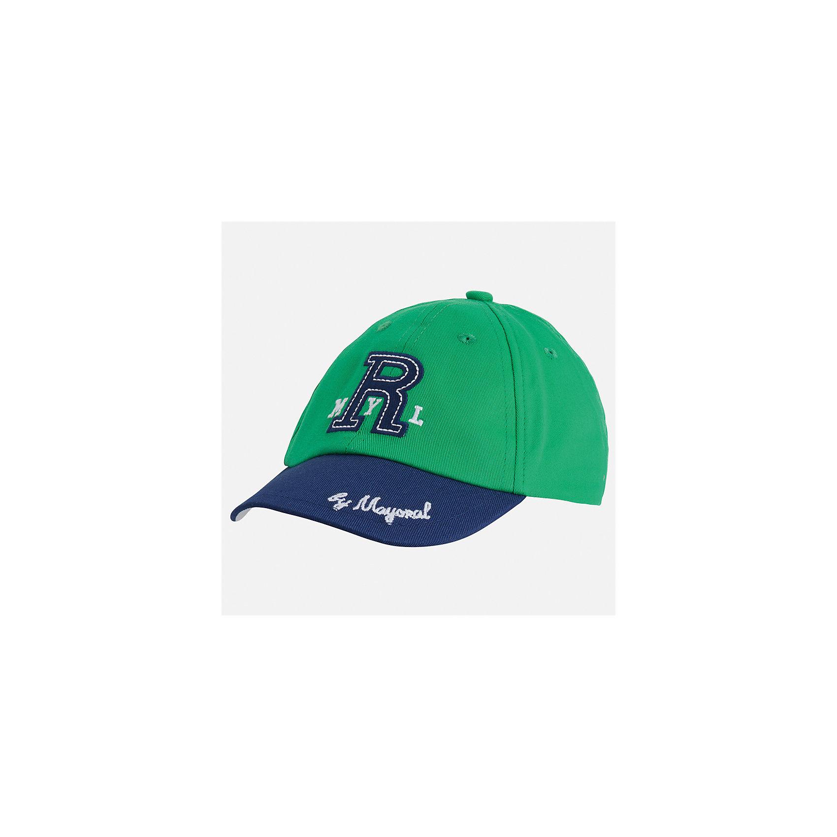 Кепка для мальчика MayoralЛетние<br>Характеристики товара:<br><br>• цвет: зелёный/синий<br>• состав: 100% хлопок, подкладка - 80% полиэстер, 20% хлопок<br>• сзади - регулятор размера<br>• отверстия для вентиляции<br>• декорирована вышивкой<br>• страна бренда: Испания<br><br>Красивая удобная кепка поможет обеспечить ребенку защиту от солнца и дополнить наряд. Универсальный цвет позволяет надевать её под одежду различных расцветок. Кепка удобно сидит и красиво смотрится. В составе материала - натуральный хлопок, гипоаллергенный, приятный на ощупь, дышащий. <br><br>Одежда, обувь и аксессуары от испанского бренда Mayoral полюбились детям и взрослым по всему миру. Модели этой марки - стильные и удобные. Для их производства используются только безопасные, качественные материалы и фурнитура. Порадуйте ребенка модными и красивыми вещами от Mayoral! <br><br>Кепку для мальчика от испанского бренда Mayoral (Майорал) можно купить в нашем интернет-магазине.<br><br>Ширина мм: 89<br>Глубина мм: 117<br>Высота мм: 44<br>Вес г: 155<br>Цвет: зеленый<br>Возраст от месяцев: 24<br>Возраст до месяцев: 36<br>Пол: Мужской<br>Возраст: Детский<br>Размер: 50,54,52<br>SKU: 5294413