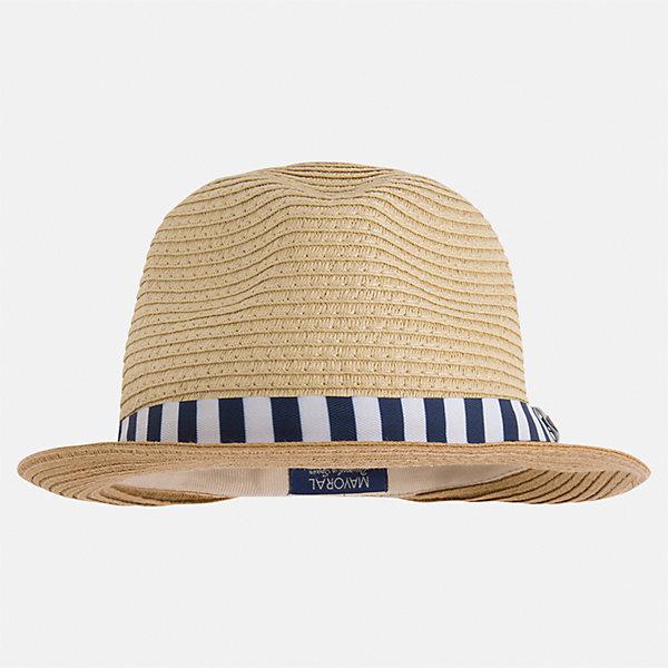 Шляпа для мальчика MayoralЛетние<br>Характеристики товара:<br><br>• цвет: бежевый<br>• состав: 100% бумага<br>• комфортная посадка<br>• дышащая фактура<br>• декорирована лентой<br>• страна бренда: Испания<br><br>Красивая легкая шляпа для мальчика поможет обеспечить ребенку защиту от солнца и дополнить наряд. Универсальный цвет позволяет надевать её под наряды различных расцветок. Шляпа удобно сидит и красиво смотрится. Отличное дополнение к летней одежде!<br><br>Одежда, обувь и аксессуары от испанского бренда Mayoral полюбились детям и взрослым по всему миру. Модели этой марки - стильные и удобные. Для их производства используются только безопасные, качественные материалы и фурнитура. Порадуйте ребенка модными и красивыми вещами от Mayoral! <br><br>Шляпу для мальчика от испанского бренда Mayoral (Майорал) можно купить в нашем интернет-магазине.<br><br>Ширина мм: 89<br>Глубина мм: 117<br>Высота мм: 44<br>Вес г: 155<br>Цвет: синий<br>Возраст от месяцев: 72<br>Возраст до месяцев: 84<br>Пол: Мужской<br>Возраст: Детский<br>Размер: 54,50,52<br>SKU: 5294474