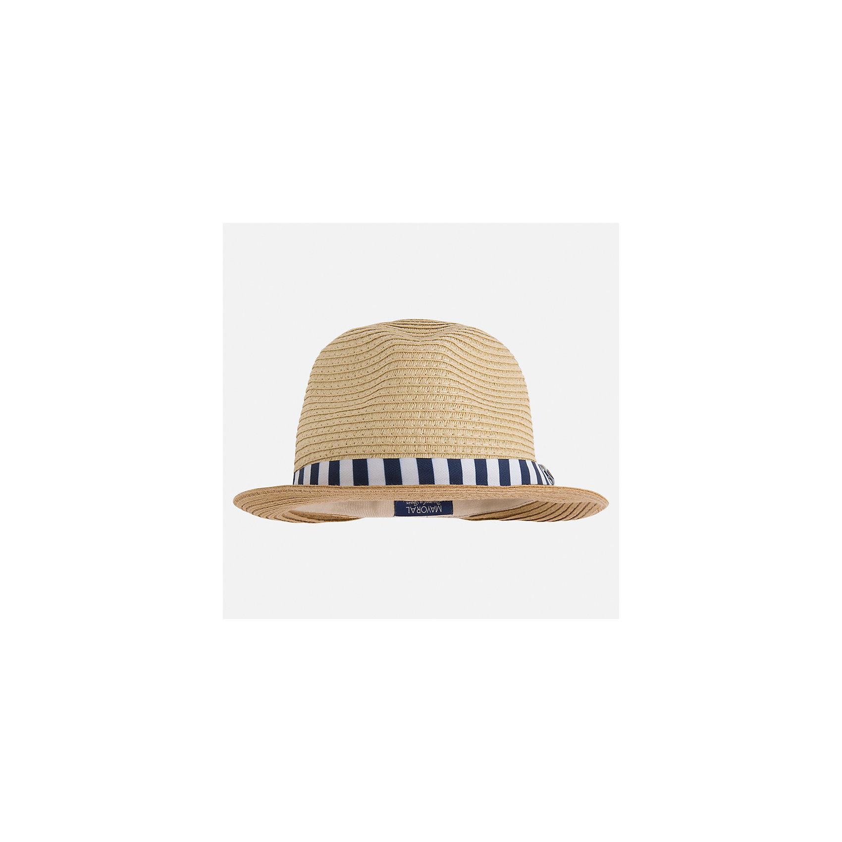Шляпа для мальчика MayoralГоловные уборы<br>Характеристики товара:<br><br>• цвет: бежевый<br>• состав: 100% бумага<br>• комфортная посадка<br>• дышащая фактура<br>• декорирована лентой<br>• страна бренда: Испания<br><br>Красивая легкая шляпа для мальчика поможет обеспечить ребенку защиту от солнца и дополнить наряд. Универсальный цвет позволяет надевать её под наряды различных расцветок. Шляпа удобно сидит и красиво смотрится. Отличное дополнение к летней одежде!<br><br>Одежда, обувь и аксессуары от испанского бренда Mayoral полюбились детям и взрослым по всему миру. Модели этой марки - стильные и удобные. Для их производства используются только безопасные, качественные материалы и фурнитура. Порадуйте ребенка модными и красивыми вещами от Mayoral! <br><br>Шляпу для мальчика от испанского бренда Mayoral (Майорал) можно купить в нашем интернет-магазине.<br><br>Ширина мм: 89<br>Глубина мм: 117<br>Высота мм: 44<br>Вес г: 155<br>Цвет: синий<br>Возраст от месяцев: 72<br>Возраст до месяцев: 84<br>Пол: Мужской<br>Возраст: Детский<br>Размер: 54,50,52<br>SKU: 5294474