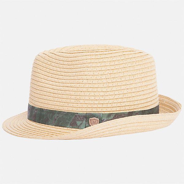 Шляпа для мальчика MayoralГоловные уборы<br>Характеристики товара:<br><br>• цвет: бежевый<br>• состав: 100% бумага<br>• комфортная посадка<br>• дышащая фактура<br>• декорирована лентой<br>• страна бренда: Испания<br><br>Красивая легкая шляпа для мальчика поможет обеспечить ребенку защиту от солнца и дополнить наряд. Универсальный цвет позволяет надевать её под наряды различных расцветок. Шляпа удобно сидит и красиво смотрится. Отличное дополнение к летней одежде!<br><br>Одежда, обувь и аксессуары от испанского бренда Mayoral полюбились детям и взрослым по всему миру. Модели этой марки - стильные и удобные. Для их производства используются только безопасные, качественные материалы и фурнитура. Порадуйте ребенка модными и красивыми вещами от Mayoral! <br><br>Шляпу для мальчика от испанского бренда Mayoral (Майорал) можно купить в нашем интернет-магазине.<br>Ширина мм: 89; Глубина мм: 117; Высота мм: 44; Вес г: 155; Цвет: коричневый; Возраст от месяцев: 72; Возраст до месяцев: 84; Пол: Мужской; Возраст: Детский; Размер: 54,50,52; SKU: 5294478;