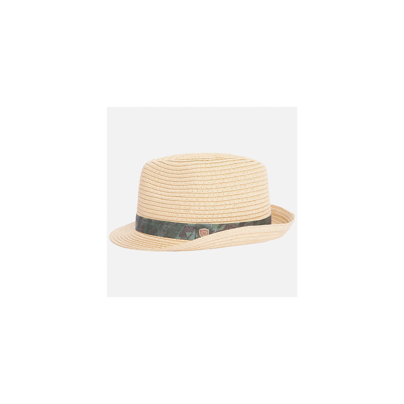 Шляпа для мальчика MayoralГоловные уборы<br>Характеристики товара:<br><br>• цвет: бежевый<br>• состав: 100% бумага<br>• комфортная посадка<br>• дышащая фактура<br>• декорирована лентой<br>• страна бренда: Испания<br><br>Красивая легкая шляпа для мальчика поможет обеспечить ребенку защиту от солнца и дополнить наряд. Универсальный цвет позволяет надевать её под наряды различных расцветок. Шляпа удобно сидит и красиво смотрится. Отличное дополнение к летней одежде!<br><br>Одежда, обувь и аксессуары от испанского бренда Mayoral полюбились детям и взрослым по всему миру. Модели этой марки - стильные и удобные. Для их производства используются только безопасные, качественные материалы и фурнитура. Порадуйте ребенка модными и красивыми вещами от Mayoral! <br><br>Шляпу для мальчика от испанского бренда Mayoral (Майорал) можно купить в нашем интернет-магазине.<br><br>Ширина мм: 89<br>Глубина мм: 117<br>Высота мм: 44<br>Вес г: 155<br>Цвет: коричневый<br>Возраст от месяцев: 72<br>Возраст до месяцев: 84<br>Пол: Мужской<br>Возраст: Детский<br>Размер: 54,50,52<br>SKU: 5294478