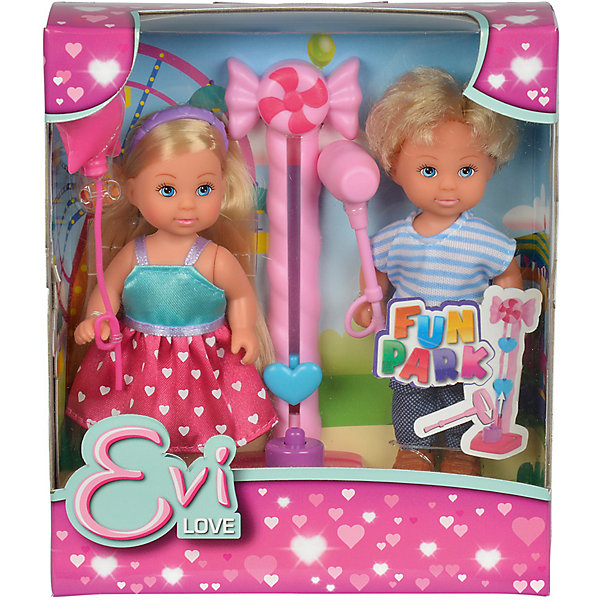 Кукла Еви и Тимми на аттракционах 12 cм, SimbaКуклы<br>Характеристики:<br><br>• высота кукол: 12 см;<br>• в комплекте две куклы: Еви и Тимми;<br>• аксессуары: воздушный шарик, молот, аттракцион;<br>• материал: пластик, текстиль;<br>• размер упаковки: 16х5х14 см.<br><br>Друзья Еви и Тимми пришли на аттракционы. Любимым развлечением Тимми является колода с молотом, ведь на этом аттракционе мальчик может показать свою силу и заинтересовать девочку Еви, привлечь ее внимание. Призом за лучший результат является воздушный шарик. У кукол подвижные конечности, они могут удерживать в ручках мелкие предметы: у Тимми молот, у Еви шарик. <br><br>Куклу Еви и Тимми на аттракционах 12 cм, Simba можно купить в нашем магазине.<br>Ширина мм: 50; Глубина мм: 160; Высота мм: 140; Вес г: 1000; Возраст от месяцев: 36; Возраст до месяцев: 120; Пол: Женский; Возраст: Детский; SKU: 5295519;