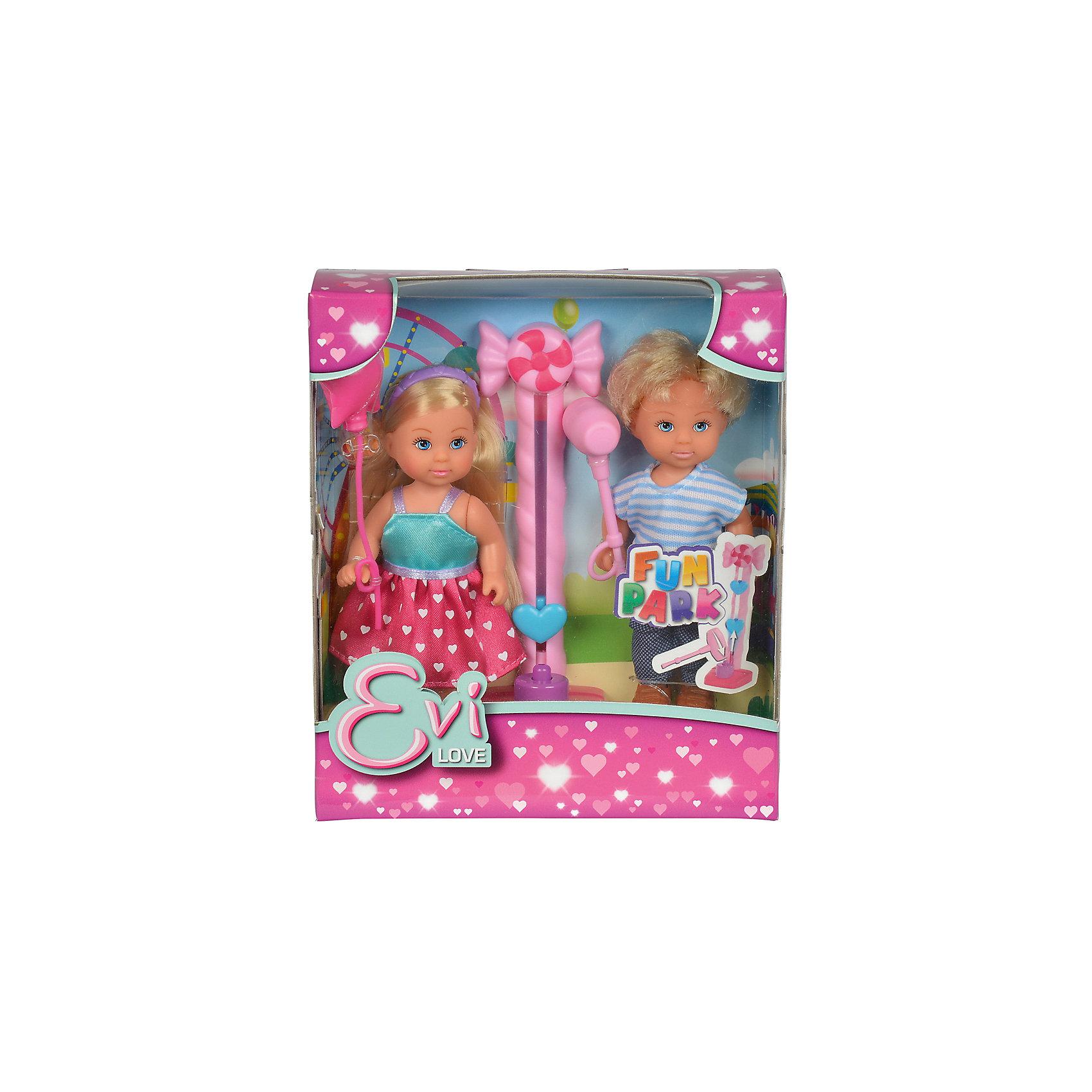 Кукла Еви и Тимми на аттракционах 12 cм, SimbaХарактеристики:<br><br>• высота кукол: 12 см;<br>• в комплекте две куклы: Еви и Тимми;<br>• аксессуары: воздушный шарик, молот, аттракцион;<br>• материал: пластик, текстиль;<br>• размер упаковки: 16х5х14 см.<br><br>Друзья Еви и Тимми пришли на аттракционы. Любимым развлечением Тимми является колода с молотом, ведь на этом аттракционе мальчик может показать свою силу и заинтересовать девочку Еви, привлечь ее внимание. Призом за лучший результат является воздушный шарик. У кукол подвижные конечности, они могут удерживать в ручках мелкие предметы: у Тимми молот, у Еви шарик. <br><br>Куклу Еви и Тимми на аттракционах 12 cм, Simba можно купить в нашем магазине.<br><br>Ширина мм: 50<br>Глубина мм: 160<br>Высота мм: 140<br>Вес г: 1000<br>Возраст от месяцев: 36<br>Возраст до месяцев: 120<br>Пол: Женский<br>Возраст: Детский<br>SKU: 5295519