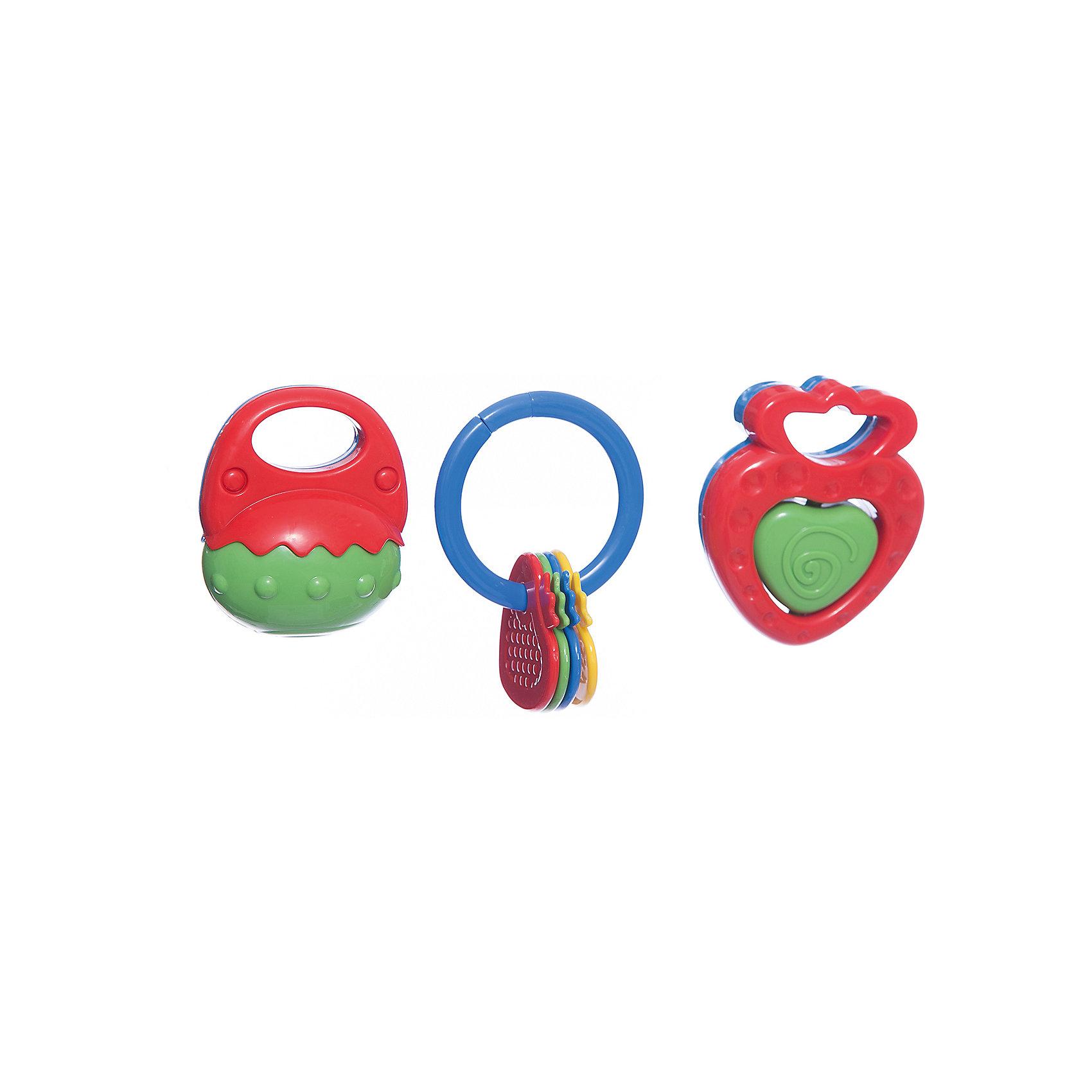 Набор погремушек, 3 шт, 8-10 см, SimbaПогремушки<br>Характеристики:<br><br>• особенность погремушек: с прорезывателем;<br>• материал: пластик;<br>• размер: 8-10 см;<br>• количество в наборе: 3 шт.;<br>• размер упаковки: 20,5х20,5х5,5 см.<br><br>Набор погремушек развивает слуховое восприятие малыша. При встряхивании погремушки цветные шарики в прозрачном контейнере перекатываются и создают мелодичный перезвон. Рельефные прорезыватели с массажным эффектом пригодятся на этапе прорезывания зубок у малыша. <br><br>Внимание! Данный артикул имеется в наличии в разных цветах и вариантах исполнения. Заранее выбрать определенный вариант нельзя. При заказе нескольких наборов возможно получение одинаковых.<br><br>Набор погремушек, 3 шт, 8-10 см, Simba можно купить в нашем магазине.<br><br>Ширина мм: 210<br>Глубина мм: 60<br>Высота мм: 210<br>Вес г: 300<br>Возраст от месяцев: 36<br>Возраст до месяцев: 24<br>Пол: Унисекс<br>Возраст: Детский<br>SKU: 5295526