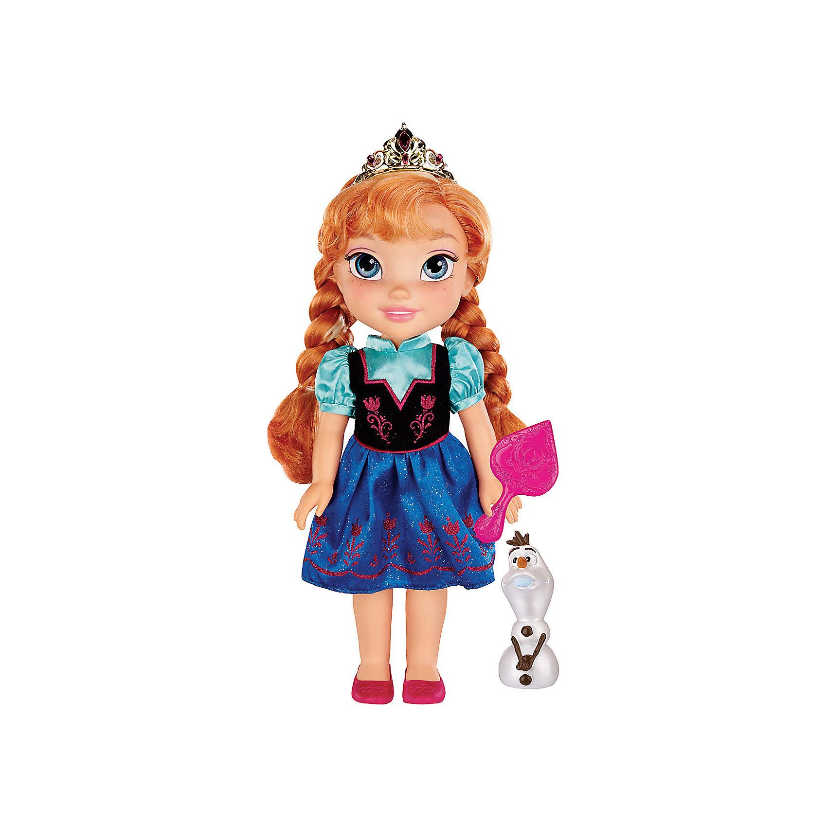 Кукла Анна, 35 см, Холодное сердцеХарактеристики:<br><br>• высота куклы: 35 см;<br>• комплектация: кукла, снеговик Олаф, аксессуары;<br>• аксессуары: диадема, зеркальце;<br>• материал: пластик, текстиль, нейлон;<br>• размер упаковки: 38,5х20,5х12 см;<br>• вес: 790 г.<br><br>Кукла-принцесса Анна одета в платье, в котором была ее героиня из мультфильма Frozen. На ножках розовенькие туфельки. В руках кукла Анна держит зеркальце, чтобы в любой момент можно было поправить прическу или воротничок. Нейлоновые волосы куклы густые и мягкие на ощупь, Анне можно делать различные прически. Верный друг девочек – снеговик Олаф – сопровождает Анну в наборе Jakks pacific.<br><br>Куклу Анна, 35 см, Холодное сердце можно купить в нашем магазине.<br><br>Ширина мм: 205<br>Глубина мм: 385<br>Высота мм: 120<br>Вес г: 792<br>Возраст от месяцев: 36<br>Возраст до месяцев: 2147483647<br>Пол: Женский<br>Возраст: Детский<br>SKU: 5296178