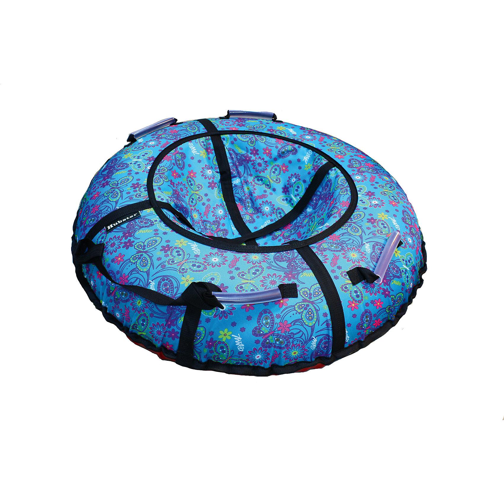 Тюбинг Люкс Бабочки бирюзовые, 105 см, HubsterТюбинг Люкс Бабочки бирюзовые, 105 см, Hubster.<br><br>Характеристики:<br><br>- Нагрузка: до 120 кг.<br>- Максимальная нагрузка: 130 кг.<br>- Рабочая температура эксплуатации: от +40 °C до -30 °C.<br>- Комплектация: ватрушка, трос, камера<br>- Материал дна: ПВХ, плотность 900 гр./м<br>- Материал верха: водонепроницаемая ткань 600 гр./м<br>- Диаметр ватрушки: 105 см.<br>- Ручки: 4 шт, усиленные<br>- Молния: скрытая, на сиденье<br>- Крепление троса: наружная петля, усиленное<br>- Камера: РФ радиус R-15<br><br>Тюбинг Люкс Бабочки бирюзовые, Hubster идеально подходит для зимнего отдыха всей семье! Он отличается высокой прочностью материала и продуманным для максимального комфорта дизайном. Плотная ПВХ ткань на дне не стирается и не царапается даже об твердый снежный наст или лед, при этом прекрасно скользит по снегу, воде или даже песку. Ткань верха усилена специальными нитями, поэтому не вытягивается со временем, обеспечивая долгий срок службы всего чехла. Также она устойчива на разрыв и не пропускает воду. Дополнительную прочность модели обеспечивают надежные усилительные ленты. Четыре ручки по бокам снабжены силиконовыми накладками, поэтому за них удобно держаться даже в плотных варежках и перчатках. Длинный буксировочный трос позволяет без труда тащить тюбинг за собой. Камера имеет стандартный автомобильный ниппель и быстро надувается при помощи компрессорного насоса. Верхняя часть чехла выполнена из ткани сочного бирюзового цвета с оригинальным принтом в виде бабочек и цветов. Благодаря яркой расцветке вы всегда сможете найти свою ватрушку на заснеженном склоне. Тюбинг удобно хранить и переносить, со сдутой камерой занимает мало места. Тюбинг Люкс Бабочки бирюзовые, Hubster прослужит вам долго, и подарит много запоминающихся и веселых моментов!<br><br>Тюбинг Люкс Бабочки бирюзовые, 105 см, Hubster можно купить в нашем интернет-магазине.<br><br>Ширина мм: 1000<br>Глубина мм: 150<br>Высота мм: 150<br>Вес г: 2500<br>Возрас
