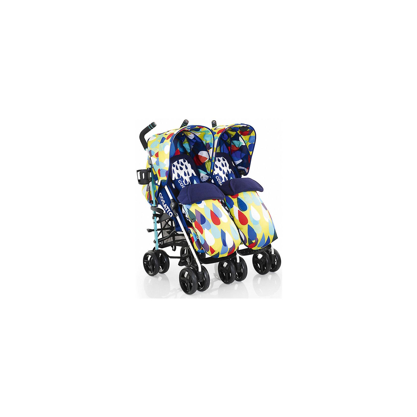 Коляска-трость для двойни Cosatto To&amp;Fro Duo/Twin, Pitter PatterКоляски-трости<br>Характеристики коляски для двойни Cosatto To&amp;Fro Duo Twin:<br> <br>• возможность использовать коляску-трость как прогулочную коляску и коляску-люльку;<br>• трансформация прогулки в люльку понятная и несложная, специальные матрасики-конверты делают спальные места в люльках ровным – для новорожденных;<br>• подголовники в люльках помогает фиксировать головки малышей;<br>• входящие в комплект адаптеры позволяют установить на шасси коляски автокресла группы 0+ Cosatto Hold (приобретаются отдельно).<br><br>Прогулочные блоки:<br><br>• расположение прогулочных блоков: параллельно;<br>• регулируемый наклон спинок коляски: 3 положения, почти до положения «лежа»;<br>• 5-ти точечные ремни безопасности с мягкими накладками, регулируются по высоте и длине;<br>• регулируемые подножки: 2 положения;<br>• капюшоны коляски оснащены солнцезащитными козырьками, смотровыми окошками и потайными карманами для мелочей;<br>• смотровые окошки находятся под клапанами на магните;<br>• капюшоны крепятся к раме коляски с помощью липучек;<br>• материал: пластик, полиэстер.<br><br>Люльки, которые трансформируются из прогулочных блоков:<br><br>• ровное дно, основание прогулочного блока не создает угла;<br>• 4-х сторонний матрас-конверт с накидкой и подголовником;<br>• капюшон переставляется на другую сторону, благодаря чему люльки на шасси находятся в положении «лицом к маме».<br><br>Шасси коляски: <br><br>• механизм складывания: трость;<br>• автоматический фиксатор от раскладывания, когда рама находится в сложенном состоянии;<br>• рама стоит в вертикальном положении, когда сложена, на колесах и специальной подножке;<br>• 6 пар сдвоенных колес, передние поворотные с блокировкой, задние оснащены стояночным тормозом;<br>• ручки коляски регулируются по высоте, 2 положения;<br>• материал рамы: алюминий;<br>• материал колес: ПВХ.<br><br>Размер коляски: 75х75х106 см<br>Вес коляски: 19 кг<br>Ширина колесной базы: 75 с