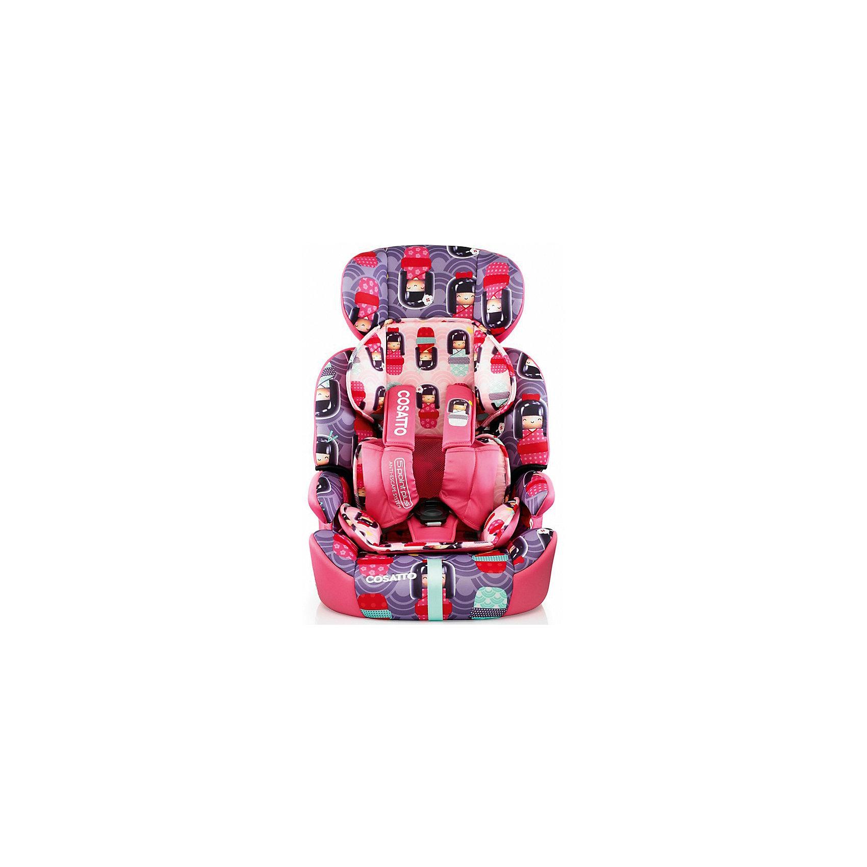 Автокресло Cosatto Zoomi, 9-36 кг, Kokeshi SmileГруппа 1-2-3 (От 9 до 36 кг)<br>Характеристики автокресла Zoomi Cosatto:<br><br>• группа 1-2-3;<br>• вес ребенка: 9-36 кг;<br>• возраст ребенка: от 9 месяцев до 12 лет;<br>• способ крепления: с помощью штатных ремней безопасности;<br>• способ установки: лицом по ходу движения автомобиля;<br>• возможность получить бустер с подлокотниками: спинка съемная;<br>• жесткий каркас сиденья обтянут мягкими чехлами;<br>• 5-ти точечные ремни безопасности с мягкими накладками;<br>• регулируемая высота подголовника: 3 положения;<br>• имеется анатомический двусторонний матрасик для маленького ребенка;<br>• съемные чехлы можно стирать при температуре 30 градусов;<br>• материал: пластик, полиэстер.<br><br>Размер автокресла: 70х46х44 см<br>Вес автокресла: 5,3 кг<br>Размер упаковки: 72х45х31 см<br>Вес в упаковке: 7,5 кг<br><br>Автокресло ZOOMI 9-36 кг., COSATTO, Kokeshi Smile можно купить в нашем интернет-магазине.<br><br>Ширина мм: 710<br>Глубина мм: 450<br>Высота мм: 300<br>Вес г: 7000<br>Возраст от месяцев: 9<br>Возраст до месяцев: 144<br>Пол: Женский<br>Возраст: Детский<br>SKU: 5296434