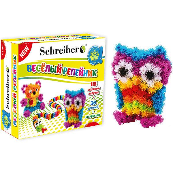 Конструктор-липучка Веселый репейник, 115 деталейПоследняя цена<br>Это отличный конструктор-липучка, который сразу же понравится ребенку!<br>Ваш малыш сможет сделать различные забавные фигурки из цветных шариков.<br>Конструктор хорошо развивает мелкую моторику рук, воображение, усидчивость и восприятие цвета.<br><br>В наборе:<br>- 115 шариков-липучек,<br>- 36 различных аксессуаров,<br>- Подробная инструкция.<br><br>Дополнительная информация:<br>- Пластик,<br>- Возраст: от 3 лет.<br>- Размер упаковки: 17x18,6x6,4 см.<br>- Вес в упаковке: 208 г.<br><br>Купить конструктор-липучку Веселый репейник можно в нашем магазине.<br><br>Ширина мм: 280<br>Глубина мм: 65<br>Высота мм: 265<br>Вес г: 300<br>Возраст от месяцев: 36<br>Возраст до месяцев: 84<br>Пол: Унисекс<br>Возраст: Детский<br>SKU: 5298055