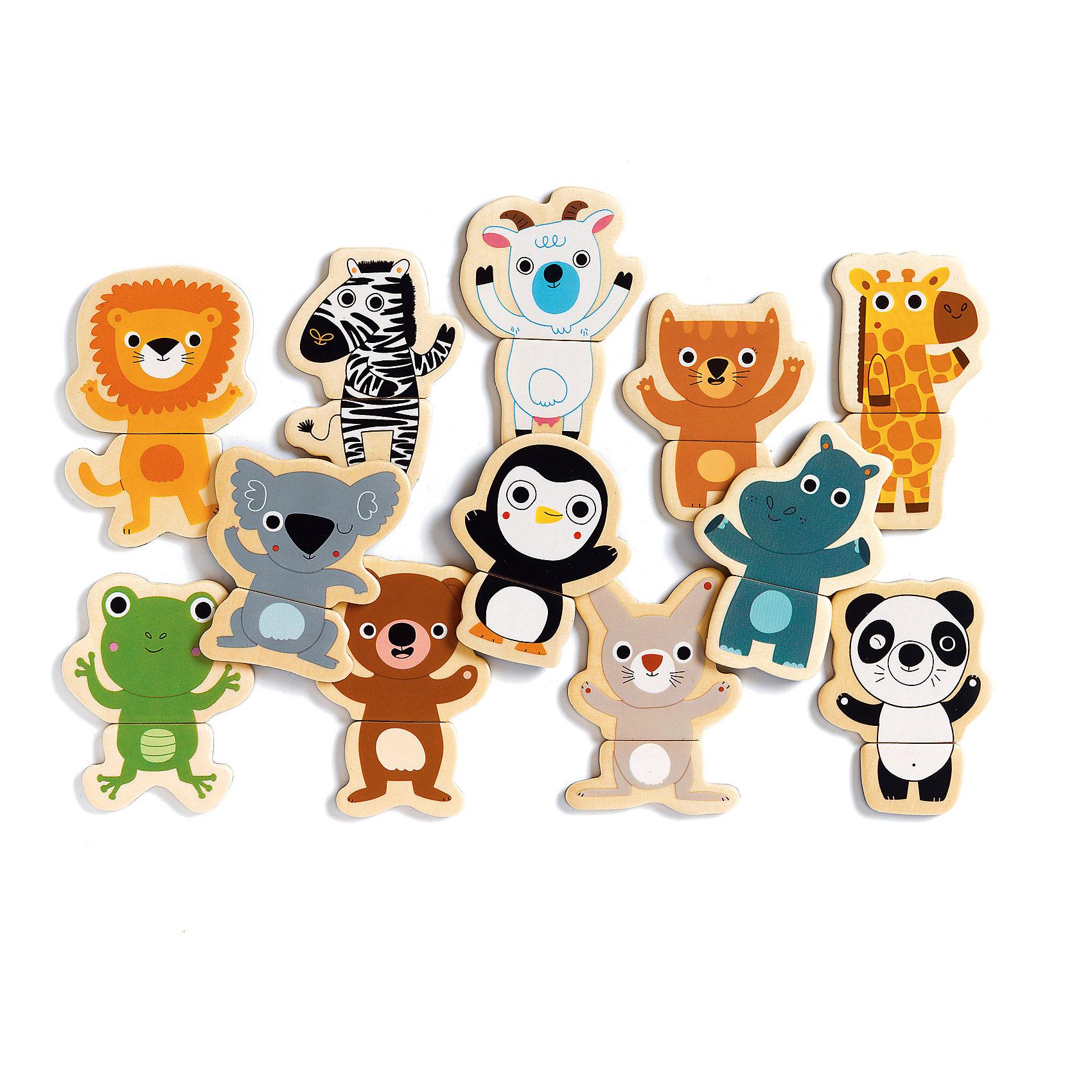 Магнитный пазл Ку-ку, DJECOРазвивающие игры<br>Магнитный пазл Ку-ку, DJECO (ДЖЕКО).<br><br>Характеристики:<br><br>- Для детей от 2-х лет<br>- Количество деталей: 24<br>- Высота собранного животного: 10 см.<br>- Материал: древесина<br>- Упаковка: красочная подарочная картонная коробка<br>- Размер упаковки: 21,8х18,8х4 см.<br><br>Магнитный пазл Ку-ку - это интересная и увлекательная игра для малышей от французского производителя Djeco (Джеко)! Игра представляет собой деревянные фигурки на магнитах, разделенные на две части. С помощью 24 деталей пазла на любой металлической поверхности можно собрать 12 различных животных или создать невероятных несуществующих животных. Пазл предназначен для игр с детьми от двух лет, но детали довольно крупные, поэтому их удобно держать в ладошке даже совсем маленьким деткам. Все фигурки изготовлены из натуральной древесины, отшлифованы и окрашены безопасными красками, они не царапаются и не теряют своего привлекательного внешнего вида. Игра развивает внимательность, мелкую моторику рук, воображение, логическое мышление, зрительное восприятие, усидчивость. Французская компания Джеко производит развивающие игрушки и игры для детей, а также наборы для творчества и детали интерьера детской комнаты. Товары Джеко отличаются высочайшим качеством, необычной идеей исполнения. Изображения и дизайн специально разрабатываются молодыми французскими художниками.<br><br>Магнитный пазл Ку-ку, DJECO (ДЖЕКО) можно купить в нашем интернет-магазине.<br><br>Ширина мм: 218<br>Глубина мм: 188<br>Высота мм: 40<br>Вес г: 400<br>Возраст от месяцев: 24<br>Возраст до месяцев: 2147483647<br>Пол: Унисекс<br>Возраст: Детский<br>SKU: 5299145