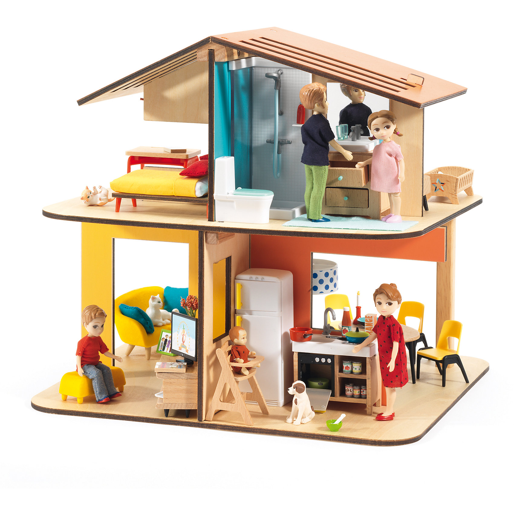 Современный дом для кукол, DJECOДомики и мебель<br>Современный дом для кукол, DJECO (ДЖЕКО).<br><br>Характеристики:<br><br>- Размер домика в собранном виде: 33,5x31,5x32 см.<br>- Внимание! В набор входят только детали для сборки домика. Фигурки приобретаются отдельно<br>- Материал: древесина, пластик<br>- Набор продается в яркой подарочной коробке<br>- Размер упаковки: 35х33х5 см.<br><br>Современный дом для кукол от французского производителя развивающих игрушек Djeco (Джеко) станет прекрасной основой для увлекательных сюжетных игр с куклами. Набор представляет собой конструктор из нескольких деталей. С помощью деталей ребенок сможет собрать двухэтажный кукольный дом, который содержит несколько комнаток. В комнатах ребенок будет самостоятельно придумывать интерьер, и создавать различные игровые ситуации. В процессе такой игры у ребенка будет прекрасно развиваться фантазия и воображение, усидчивость и внимание к деталям. Ребенок сможет в игровой форме попробовать различные социальные роли. Французская компания Джеко производит развивающие игрушки и игры для детей, а также наборы для творчества и детали интерьера детской комнаты. Все товары Джеко отличаются высочайшим качеством, необычной идеей исполнения. Изображения и дизайн специально разрабатываются молодыми французскими художниками.<br><br>Современный дом для кукол, DJECO (ДЖЕКО) можно купить в нашем интернет-магазине.<br><br>Ширина мм: 335<br>Глубина мм: 315<br>Высота мм: 320<br>Вес г: 1000<br>Возраст от месяцев: 48<br>Возраст до месяцев: 2147483647<br>Пол: Женский<br>Возраст: Детский<br>SKU: 5299147