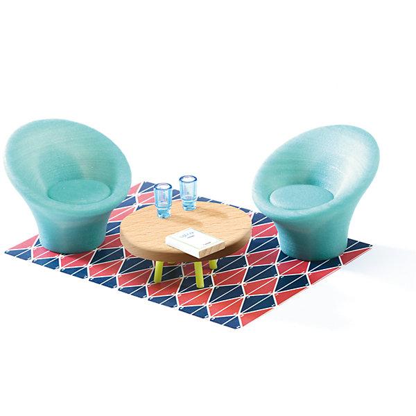 Мебель для кукольного дома, Гостиная, DJECOМебель для кукол<br>Мебель для кукольного дома, Гостиная, DJECO (ДЖЕКО).<br><br>Характеристики:<br><br>- В наборе: 2 кресла, журнальный столик, ковёр, 2 стакана, книга<br>- Материал: текстиль, пластик, древесина<br>- Упаковка: подарочная коробка<br>- Размер упаковки: 23х15,5х5,5 см.<br><br>Мебель для кукольного дома Гостиная от французского производителя Djeco (Джеко) – превосходный набор для игр, который приведет в восторг всех любительниц игр с куклами и кукольными домиками. Мебель станет прекрасным дополнением для сюжетных игр вашего ребенка. В процессе такой игры у ребенка будет прекрасно развиваться фантазия и воображение, усидчивость и внимание. Все детали набора изготовлены из высококачественных безопасных для ребенка материалов.<br><br>Мебель для кукольного дома, Гостиная, DJECO (ДЖЕКО) можно купить в нашем интернет-магазине.<br><br>Ширина мм: 230<br>Глубина мм: 155<br>Высота мм: 55<br>Вес г: 1000<br>Возраст от месяцев: 48<br>Возраст до месяцев: 2147483647<br>Пол: Женский<br>Возраст: Детский<br>SKU: 5299148