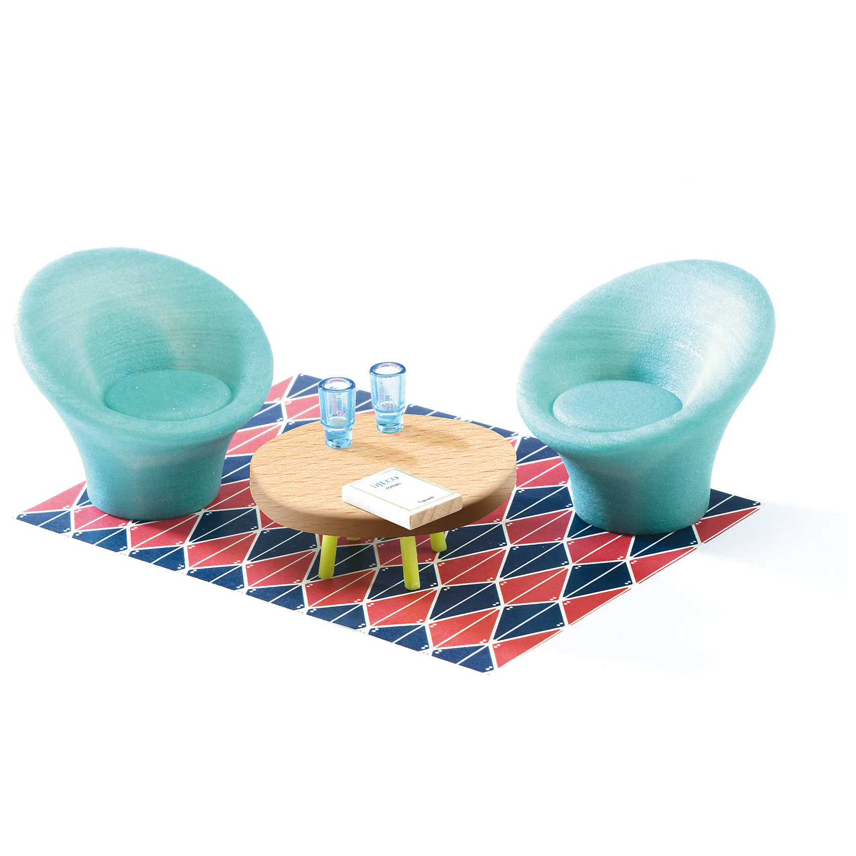 Мебель для кукольного дома, Гостиная, DJECOДомики и мебель<br>Мебель для кукольного дома, Гостиная, DJECO (ДЖЕКО).<br><br>Характеристики:<br><br>- В наборе: 2 кресла, журнальный столик, ковёр, 2 стакана, книга<br>- Материал: текстиль, пластик, древесина<br>- Упаковка: подарочная коробка<br>- Размер упаковки: 23х15,5х5,5 см.<br><br>Мебель для кукольного дома Гостиная от французского производителя Djeco (Джеко) – превосходный набор для игр, который приведет в восторг всех любительниц игр с куклами и кукольными домиками. Мебель станет прекрасным дополнением для сюжетных игр вашего ребенка. В процессе такой игры у ребенка будет прекрасно развиваться фантазия и воображение, усидчивость и внимание. Все детали набора изготовлены из высококачественных безопасных для ребенка материалов.<br><br>Мебель для кукольного дома, Гостиная, DJECO (ДЖЕКО) можно купить в нашем интернет-магазине.<br><br>Ширина мм: 230<br>Глубина мм: 155<br>Высота мм: 55<br>Вес г: 1000<br>Возраст от месяцев: 48<br>Возраст до месяцев: 2147483647<br>Пол: Женский<br>Возраст: Детский<br>SKU: 5299148