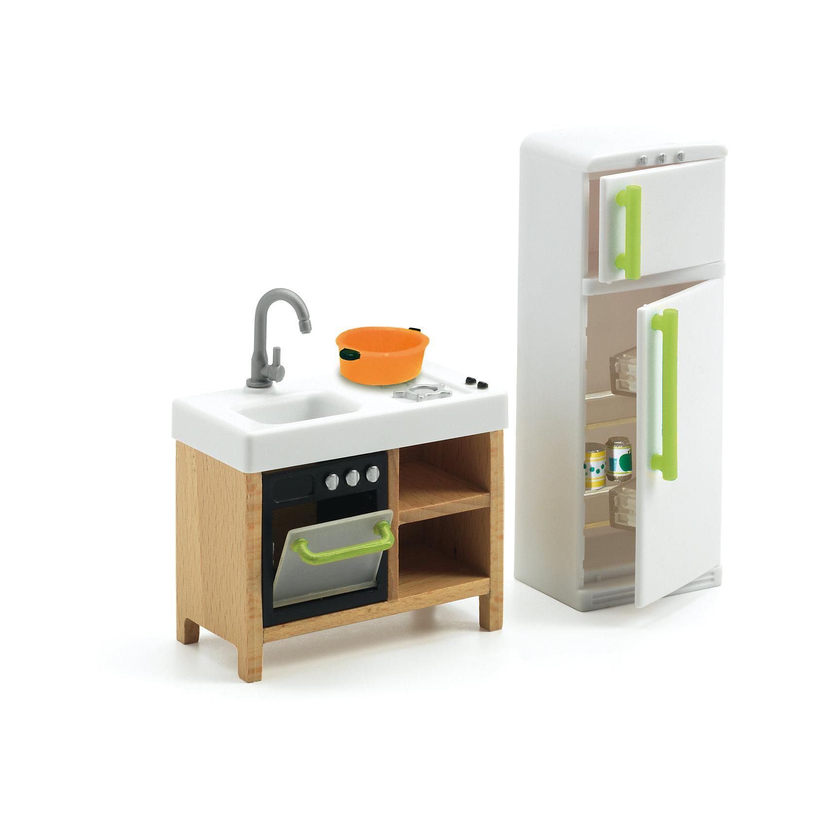 Мебель для кукольного дома, Кухня, DJECOМебель для кукольного дома, Кухня, DJECO (ДЖЕКО).<br><br>Характеристики:<br><br>- В набор входит: холодильник с морозильником; тумба с мойкой, духовкой, плитой и полочками; кастрюлька; 3 баночки с напитками<br>- Материал: древесина, пластик<br>- Упаковка: подарочная коробка<br>- Размер упаковки: 12,5х15,5х4,5 см.<br><br>Мебель для кукольного дома Кухня от французского производителя Djeco (Джеко) – превосходный набор для игр, который приведет в восторг всех любительниц игр с куклами и кукольными домиками. Мебель для кухни станет прекрасным дополнением для сюжетных игр ребенка. В процессе такой игры у ребенка будет прекрасно развиваться фантазия и воображение, усидчивость и внимание. Все детали изготовлены из высококачественных безопасных для ребенка материалов.<br><br>Мебель для кукольного дома, Кухня, DJECO (ДЖЕКО) можно купить в нашем интернет-магазине.<br><br>Ширина мм: 125<br>Глубина мм: 155<br>Высота мм: 45<br>Вес г: 1000<br>Возраст от месяцев: 48<br>Возраст до месяцев: 2147483647<br>Пол: Женский<br>Возраст: Детский<br>SKU: 5299149