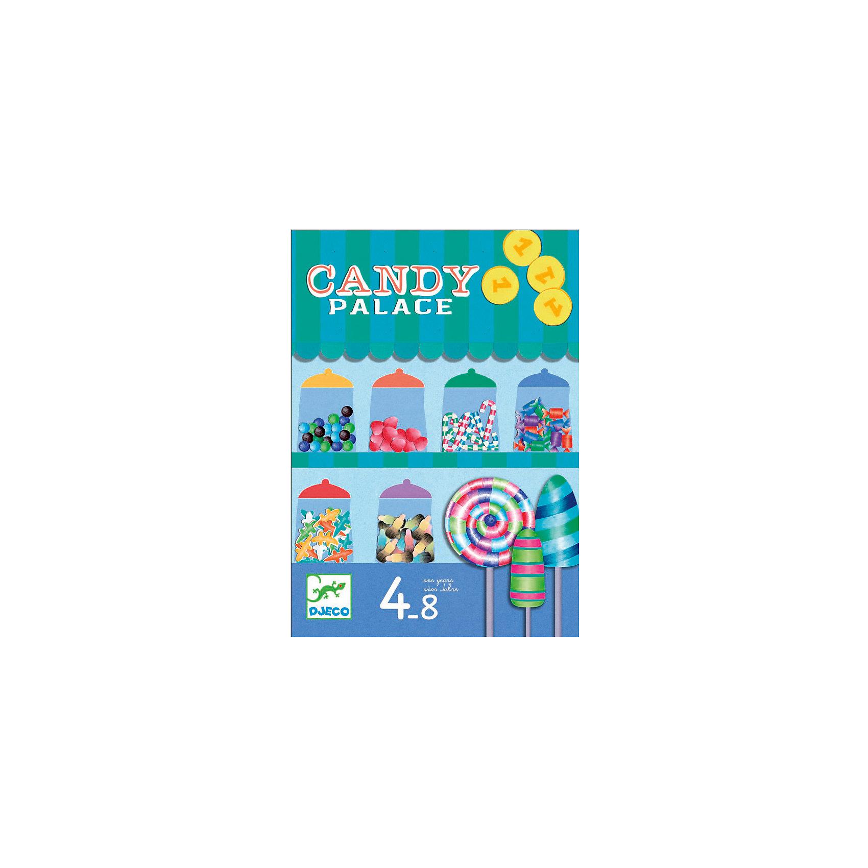 Настольная игра Конфетки, DJECOИгры для развлечений<br>Настольная игра Конфетки, DJECO (ДЖЕКО).<br><br>Характеристики:<br><br>- Для детей от 5 лет<br>- В комплект игры входят: игровое поле, 18 конфет на подставке, 4 фишки для передвижения по полю, карточки с действиями, карточки с монетками, инструкция<br>- Количество игроков: от 2 до 4 человек<br>- Материал: картон<br>- Упаковка: красивая подарочная коробка<br>- Размер упаковки: 30х28х5 см.<br><br>Веселая и динамичная настольная игра Конфетки от французской компании Djeco (Джеко) порадует маленьких сладкоежек. Цель игры: заработать монеты и купить побольше конфет, но сделать это нужно до того, как закроется магазин! Игроки по очереди бросают кубик и перемещаются по игровому полю. Они могут остановиться либо на клетке, где можно заработать монетки, либо на клетке с конфетами, которые можно купить за сумму, указанную на клетке. Но на поле есть клетки «жалюзи», которые постепенно закрываются. Партия заканчивается, когда в продаже не осталось конфет или когда жалюзи магазина полностью закрылись. Побеждает тот, кто набрал больше всех конфет. Игра развивает тактическое мышление, сообразительность и внимательность. Все детали изготовлены из высококачественного материала. Французская компания Джеко производит развивающие игрушки и игры для детей, а также наборы для творчества и детали интерьера детской комнаты. Все товары Джеко отличаются высочайшим качеством, необычной идеей исполнения. Изображения и дизайн специально разрабатываются молодыми французскими художниками.<br><br>Настольную игру Конфетки, DJECO (ДЖЕКО) можно купить в нашем интернет-магазине.<br><br>Ширина мм: 218<br>Глубина мм: 188<br>Высота мм: 40<br>Вес г: 600<br>Возраст от месяцев: 24<br>Возраст до месяцев: 2147483647<br>Пол: Унисекс<br>Возраст: Детский<br>SKU: 5299150