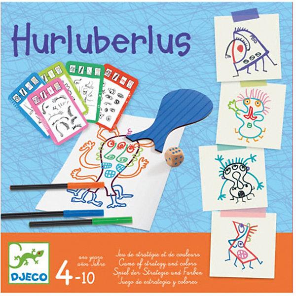 Настольная игра Абракадабра, DJECOНастольные игры ходилки<br>Настольная игра Абракадабра, DJECO (ДЖЕКО).<br><br>Характеристики:<br><br>- Игра рекомендована для детей от 4 до 10 лет<br>- В комплекте: 8 фигур, 4 фломастера, кубик, 7 карточек с рисунками глаз, носов, ртов, ушей, рук, ног и волос<br>- Количество игроков: от 1 до 6 человек<br>- Время игры: 10 минут<br>- Материал: бумага, пластик, дерево<br>- Игра продается в красивой подарочной коробке, в которой удобно хранить все детали<br>- Размер упаковки: 21,5х21,5х3 см.<br><br>Настольная игра Абракадабра от французского производителя Djeco (Джеко) – это развлекательная творческая игра, которая приведет в восторг малышей! Цель игры: создать фантастического персонажа. Каждый ребенок выбирает фигуру и рисует ее на листе. Начинает игру самый младший игрок. Он берет карточку-рисунок. На ней указана часть тела, которую необходимо дорисовать: глаза, носы, рты, уши, руки, ноги, волосы. Игроки по очереди бросают кубик, и рисуют на своей форме часть тела в количестве равном числу выпавшем на кубике. Затем карточку берет следующий игрок и так далее, пока не будут использованы все семь карточек. Добавив к формам части тела со всех семи карточек, игроки заканчивают рисование. Галерея абстрактного искусства готова! Невероятные персонажи вызовут дружный хохот и поднимут настроение! Игра создана по оригинальной идее Эрве Тюлле — иллюстратора, создающий цветной, динамичный и интерактивный мир. Во время игры у ребенка развивается творческое мышление и мелкая моторика рук.<br><br>Настольную игру Абракадабра, DJECO (ДЖЕКО) можно купить в нашем интернет-магазине.<br><br>Ширина мм: 215<br>Глубина мм: 215<br>Высота мм: 30<br>Вес г: 600<br>Возраст от месяцев: 48<br>Возраст до месяцев: 2147483647<br>Пол: Унисекс<br>Возраст: Детский<br>SKU: 5299152