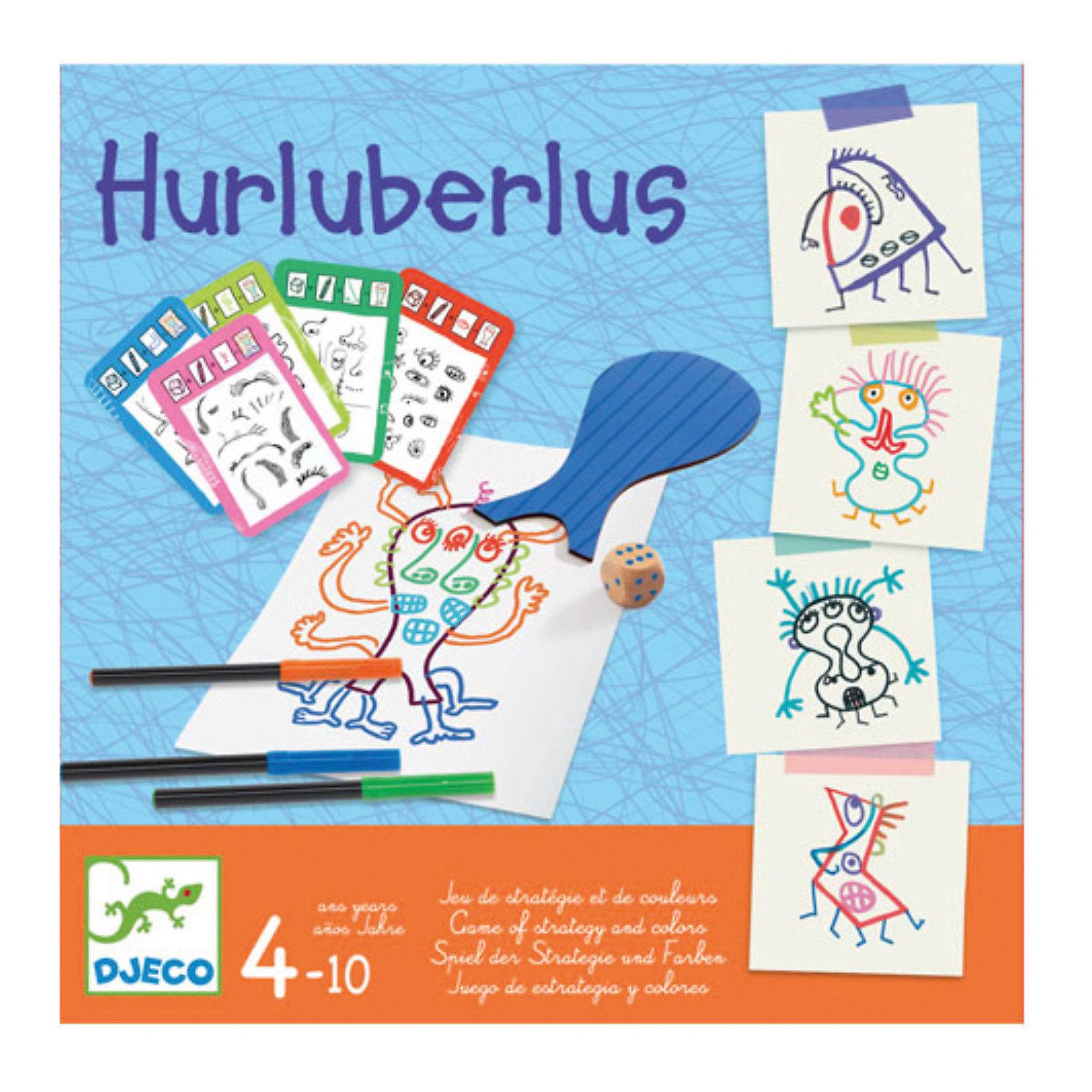 Настольная игра Абракадабра, DJECOРазвивающие игры<br>Настольная игра Абракадабра, DJECO (ДЖЕКО).<br><br>Характеристики:<br><br>- Игра рекомендована для детей от 4 до 10 лет<br>- В комплекте: 8 фигур, 4 фломастера, кубик, 7 карточек с рисунками глаз, носов, ртов, ушей, рук, ног и волос<br>- Количество игроков: от 1 до 6 человек<br>- Время игры: 10 минут<br>- Материал: бумага, пластик, дерево<br>- Игра продается в красивой подарочной коробке, в которой удобно хранить все детали<br>- Размер упаковки: 21,5х21,5х3 см.<br><br>Настольная игра Абракадабра от французского производителя Djeco (Джеко) – это развлекательная творческая игра, которая приведет в восторг малышей! Цель игры: создать фантастического персонажа. Каждый ребенок выбирает фигуру и рисует ее на листе. Начинает игру самый младший игрок. Он берет карточку-рисунок. На ней указана часть тела, которую необходимо дорисовать: глаза, носы, рты, уши, руки, ноги, волосы. Игроки по очереди бросают кубик, и рисуют на своей форме часть тела в количестве равном числу выпавшем на кубике. Затем карточку берет следующий игрок и так далее, пока не будут использованы все семь карточек. Добавив к формам части тела со всех семи карточек, игроки заканчивают рисование. Галерея абстрактного искусства готова! Невероятные персонажи вызовут дружный хохот и поднимут настроение! Игра создана по оригинальной идее Эрве Тюлле — иллюстратора, создающий цветной, динамичный и интерактивный мир. Во время игры у ребенка развивается творческое мышление и мелкая моторика рук.<br><br>Настольную игру Абракадабра, DJECO (ДЖЕКО) можно купить в нашем интернет-магазине.<br><br>Ширина мм: 215<br>Глубина мм: 215<br>Высота мм: 30<br>Вес г: 600<br>Возраст от месяцев: 48<br>Возраст до месяцев: 2147483647<br>Пол: Унисекс<br>Возраст: Детский<br>SKU: 5299152