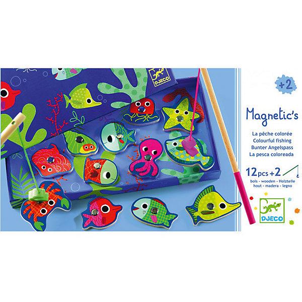 Магнитная игра рыбалка Цвета, DJECOНастольные игры для всей семьи<br>Магнитная игра рыбалка Цвета, DJECO (ДЖЕКО).<br><br>Характеристики:<br><br>- Игра предназначена для детей от 2-х лет<br>- В комплект игры входят: морские обитатели с магнитом - 12 штук, удочки - 2 штуки<br>- Материал: древесина, картон<br>- Игра продается в красочной стильной коробке и идеально подходит в качестве подарка<br>- Размер упаковки: 28х15х2,5 см.<br><br>Магнитная игра рыбалка Цвета от Djeco - игра для юных рыболовов, желающих поймать на удочку красочных разноцветных рыбок. Рыбалка Djeco - это интереснейшая развивающая игра, в которой малышу придется ловить красочных рыбок игрушечной удочкой с большим магнитным безопасным крючком. При этом малыш также сможет научиться различать и называть различные цвета. Магнитная игра рыбалка Цвета Djeco поможет не только развить ловкость и моторику малыша, но и даст полезный навык, который, возможно, будет основой будущего хобби. Все детали игры очень высококачественны и безопасны для ребенка, что подтверждается сертификатами.<br><br>Магнитную игру рыбалку Цвета, DJECO (ДЖЕКО) можно купить в нашем интернет-магазине.<br>Ширина мм: 280; Глубина мм: 150; Высота мм: 250; Вес г: 350; Возраст от месяцев: 24; Возраст до месяцев: 2147483647; Пол: Унисекс; Возраст: Детский; SKU: 5299154;