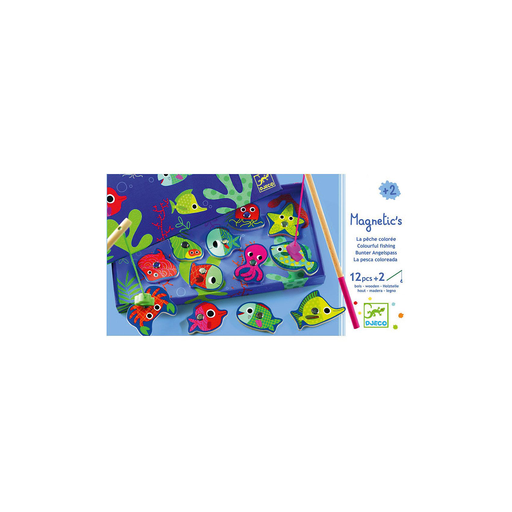 Магнитная игра рыбалка Цвета, DJECOНастольные игры на ловкость<br>Магнитная игра рыбалка Цвета, DJECO (ДЖЕКО).<br><br>Характеристики:<br><br>- Игра предназначена для детей от 2-х лет<br>- В комплект игры входят: морские обитатели с магнитом - 12 штук, удочки - 2 штуки<br>- Материал: древесина, картон<br>- Игра продается в красочной стильной коробке и идеально подходит в качестве подарка<br>- Размер упаковки: 28х15х2,5 см.<br><br>Магнитная игра рыбалка Цвета от Djeco - игра для юных рыболовов, желающих поймать на удочку красочных разноцветных рыбок. Рыбалка Djeco - это интереснейшая развивающая игра, в которой малышу придется ловить красочных рыбок игрушечной удочкой с большим магнитным безопасным крючком. При этом малыш также сможет научиться различать и называть различные цвета. Магнитная игра рыбалка Цвета Djeco поможет не только развить ловкость и моторику малыша, но и даст полезный навык, который, возможно, будет основой будущего хобби. Все детали игры очень высококачественны и безопасны для ребенка, что подтверждается сертификатами.<br><br>Магнитную игру рыбалку Цвета, DJECO (ДЖЕКО) можно купить в нашем интернет-магазине.<br><br>Ширина мм: 280<br>Глубина мм: 150<br>Высота мм: 250<br>Вес г: 350<br>Возраст от месяцев: 24<br>Возраст до месяцев: 2147483647<br>Пол: Унисекс<br>Возраст: Детский<br>SKU: 5299154