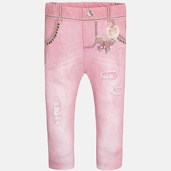 Леггинсы для девочки MayoralБрюки<br>Характеристики товара:<br><br>• цвет: розовый<br>• состав: 95% хлопок, 5% эластан<br>• шлевки<br>• эластичный материал<br>• принт<br>• имитация потертости<br>• страна бренда: Испания<br><br>Модные леггинсы для девочки смогут разнообразить гардероб ребенка и украсить наряд. Они отлично сочетаются с майками, футболками, блузками. Красивый оттенок позволяет подобрать к вещи верх разных расцветок. В составе материала - натуральный хлопок, гипоаллергенный, приятный на ощупь, дышащий. Леггинсы отлично сидят и не стесняют движения.<br><br>Одежда, обувь и аксессуары от испанского бренда Mayoral полюбились детям и взрослым по всему миру. Модели этой марки - стильные и удобные. Для их производства используются только безопасные, качественные материалы и фурнитура. Порадуйте ребенка модными и красивыми вещами от Mayoral! <br><br>Леггинсы для девочки от испанского бренда Mayoral (Майорал) можно купить в нашем интернет-магазине.<br><br>Ширина мм: 123<br>Глубина мм: 10<br>Высота мм: 149<br>Вес г: 209<br>Цвет: красный<br>Возраст от месяцев: 6<br>Возраст до месяцев: 9<br>Пол: Женский<br>Возраст: Детский<br>Размер: 74,92,86,80<br>SKU: 5300067