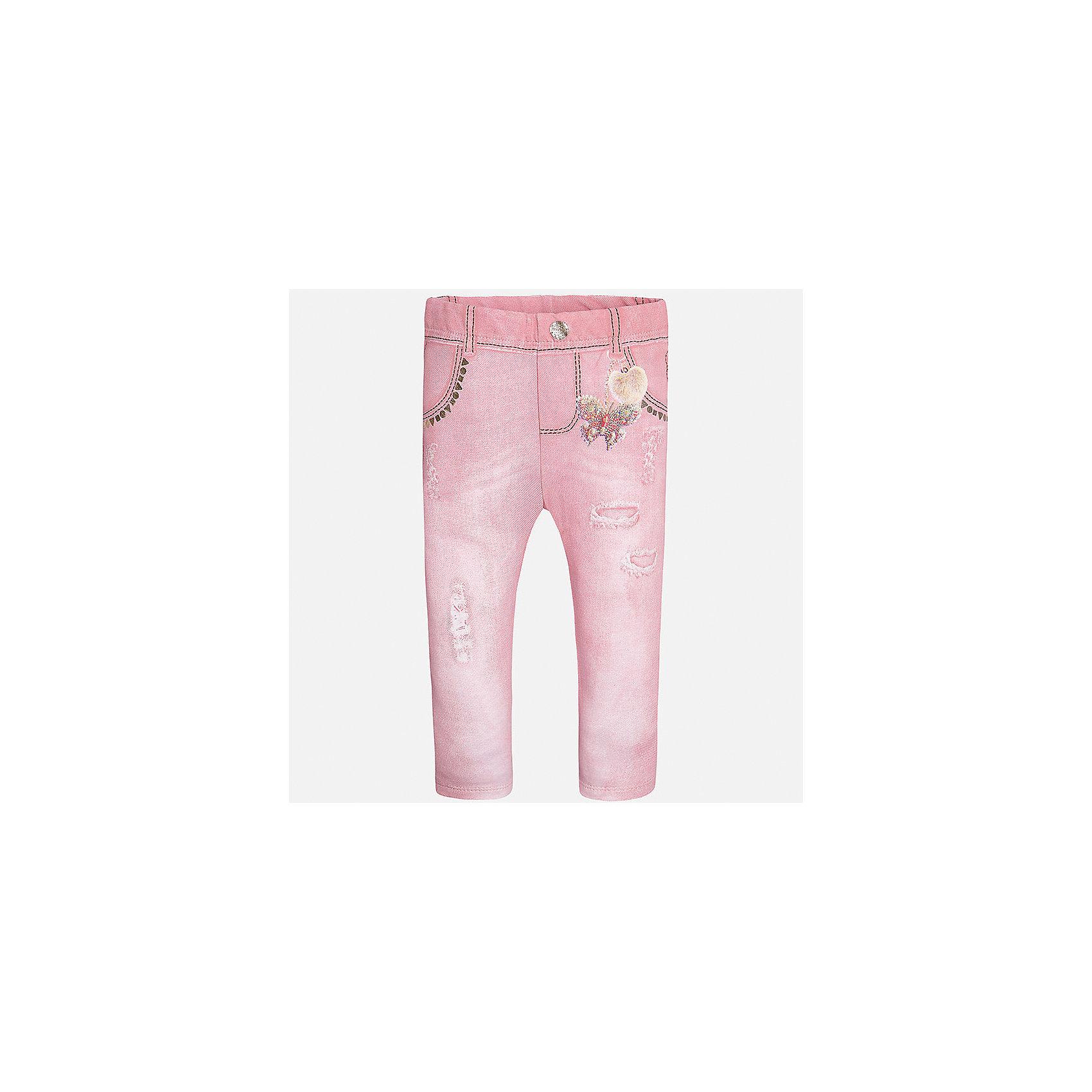 Леггинсы для девочки MayoralБрюки<br>Характеристики товара:<br><br>• цвет: розовый<br>• состав: 95% хлопок, 5% эластан<br>• шлевки<br>• эластичный материал<br>• принт<br>• имитация потертости<br>• страна бренда: Испания<br><br>Модные леггинсы для девочки смогут разнообразить гардероб ребенка и украсить наряд. Они отлично сочетаются с майками, футболками, блузками. Красивый оттенок позволяет подобрать к вещи верх разных расцветок. В составе материала - натуральный хлопок, гипоаллергенный, приятный на ощупь, дышащий. Леггинсы отлично сидят и не стесняют движения.<br><br>Одежда, обувь и аксессуары от испанского бренда Mayoral полюбились детям и взрослым по всему миру. Модели этой марки - стильные и удобные. Для их производства используются только безопасные, качественные материалы и фурнитура. Порадуйте ребенка модными и красивыми вещами от Mayoral! <br><br>Леггинсы для девочки от испанского бренда Mayoral (Майорал) можно купить в нашем интернет-магазине.<br><br>Ширина мм: 123<br>Глубина мм: 10<br>Высота мм: 149<br>Вес г: 209<br>Цвет: красный<br>Возраст от месяцев: 18<br>Возраст до месяцев: 24<br>Пол: Женский<br>Возраст: Детский<br>Размер: 92,74,80,86<br>SKU: 5300067