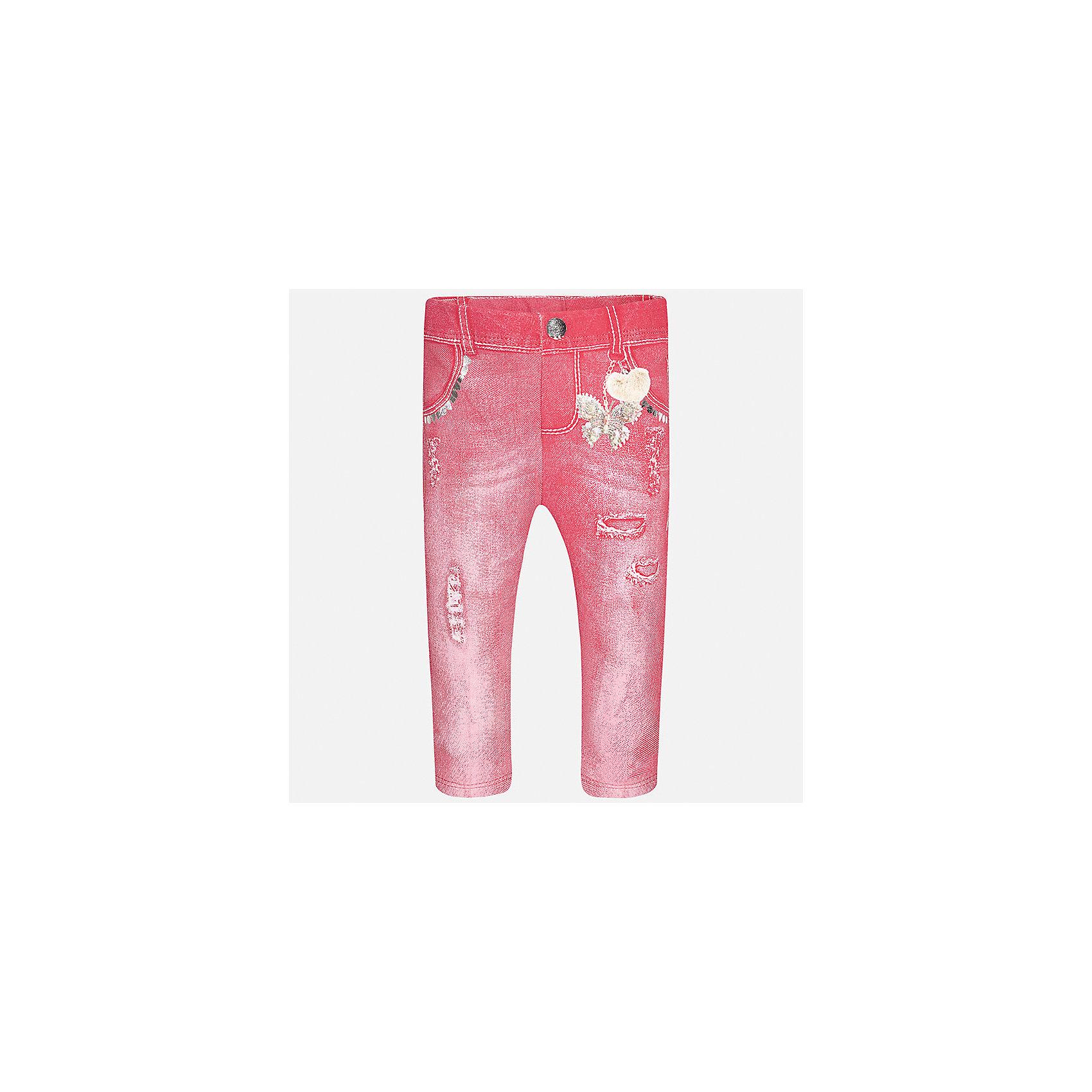 Леггинсы для девочки MayoralЛеггинсы<br>Характеристики товара:<br><br>• цвет: розовый<br>• состав: 95% хлопок, 5% эластан<br>• шлевки<br>• эластичный материал<br>• принт<br>• имитация потертости<br>• страна бренда: Испания<br><br>Модные леггинсы для девочки смогут разнообразить гардероб ребенка и украсить наряд. Они отлично сочетаются с майками, футболками, блузками. Красивый оттенок позволяет подобрать к вещи верх разных расцветок. В составе материала - натуральный хлопок, гипоаллергенный, приятный на ощупь, дышащий. Леггинсы отлично сидят и не стесняют движения.<br><br>Одежда, обувь и аксессуары от испанского бренда Mayoral полюбились детям и взрослым по всему миру. Модели этой марки - стильные и удобные. Для их производства используются только безопасные, качественные материалы и фурнитура. Порадуйте ребенка модными и красивыми вещами от Mayoral! <br><br>Леггинсы для девочки от испанского бренда Mayoral (Майорал) можно купить в нашем интернет-магазине.<br><br>Ширина мм: 123<br>Глубина мм: 10<br>Высота мм: 149<br>Вес г: 209<br>Цвет: фиолетовый<br>Возраст от месяцев: 18<br>Возраст до месяцев: 24<br>Пол: Женский<br>Возраст: Детский<br>Размер: 92,74,80,86<br>SKU: 5300077