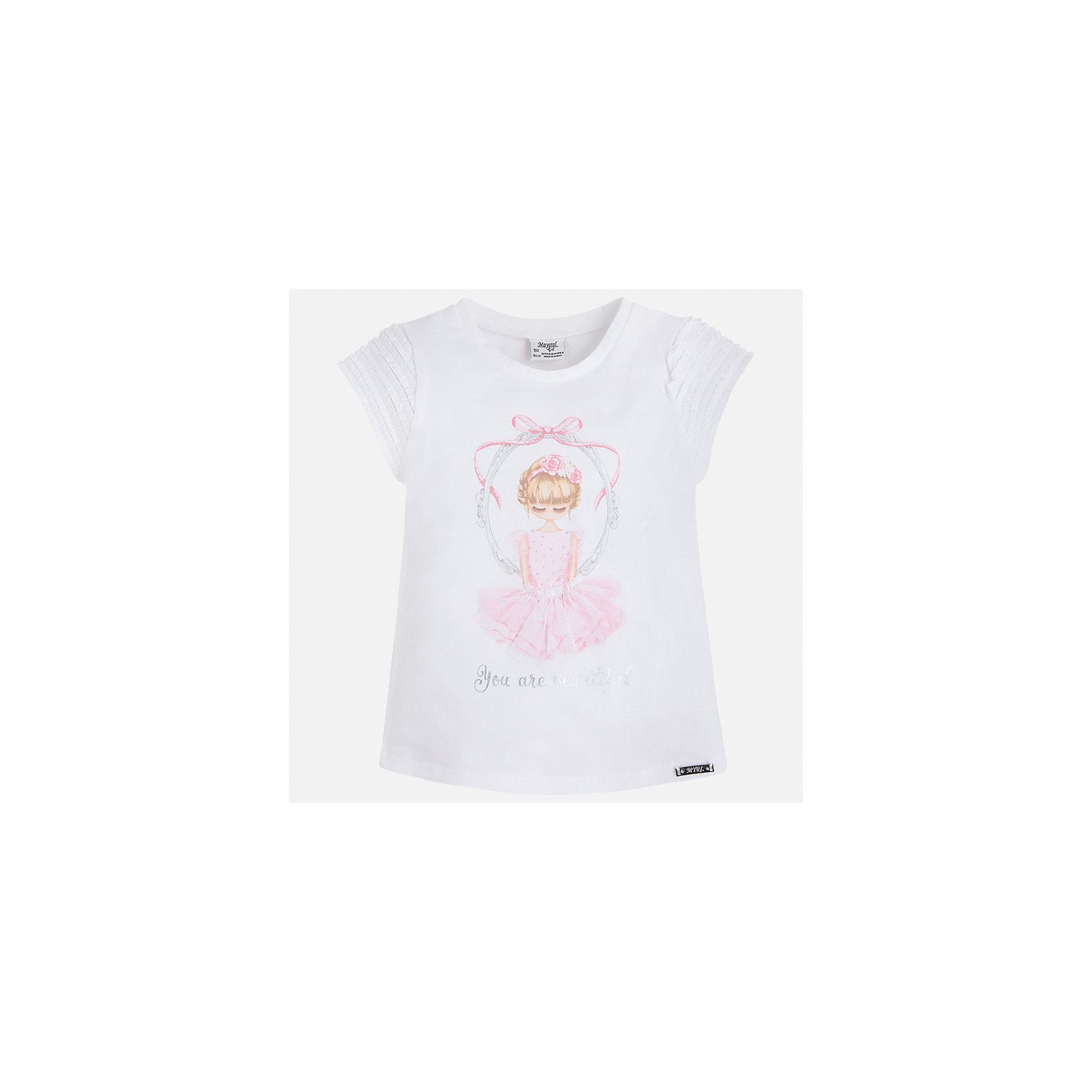 Футболка для девочки MayoralХарактеристики товара:<br><br>• цвет: белый<br>• состав: 95% хлопок, 5% эластан<br>• эластичный материал<br>• декорирована принтом<br>• короткие рукава<br>• фактурные плечи<br>• округлый горловой вырез<br>• страна бренда: Испания<br><br>Стильная качественная футболка для девочки поможет разнообразить гардероб ребенка и украсить наряд. Она отлично сочетается и с юбками, и с шортами, и с брюками. Универсальный цвет позволяет подобрать к вещи низ практически любой расцветки. Интересная отделка модели делает её нарядной и оригинальной. В составе материала есть натуральный хлопок, гипоаллергенный, приятный на ощупь, дышащий.<br><br>Одежда, обувь и аксессуары от испанского бренда Mayoral полюбились детям и взрослым по всему миру. Модели этой марки - стильные и удобные. Для их производства используются только безопасные, качественные материалы и фурнитура. Порадуйте ребенка модными и красивыми вещами от Mayoral! <br><br>Футболку для девочки от испанского бренда Mayoral (Майорал) можно купить в нашем интернет-магазине.<br><br>Ширина мм: 199<br>Глубина мм: 10<br>Высота мм: 161<br>Вес г: 151<br>Цвет: белый<br>Возраст от месяцев: 96<br>Возраст до месяцев: 108<br>Пол: Женский<br>Возраст: Детский<br>Размер: 134,92,98,104,110,116,122,128<br>SKU: 5300082