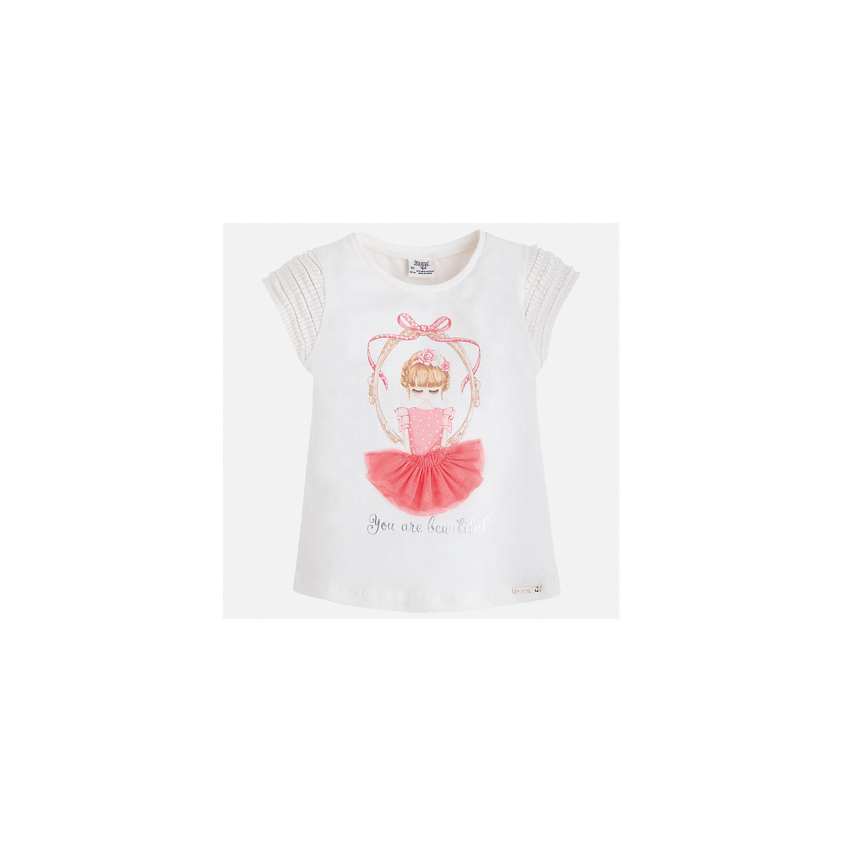 Футболка для девочки MayoralХарактеристики товара:<br><br>• цвет: белый<br>• состав: 95% хлопок, 5% эластан<br>• эластичный материал<br>• декорирована принтом<br>• короткие рукава<br>• фактурные плечи<br>• округлый горловой вырез<br>• страна бренда: Испания<br><br>Стильная качественная футболка для девочки поможет разнообразить гардероб ребенка и украсить наряд. Она отлично сочетается и с юбками, и с шортами, и с брюками. Универсальный цвет позволяет подобрать к вещи низ практически любой расцветки. Интересная отделка модели делает её нарядной и оригинальной. В составе материала есть натуральный хлопок, гипоаллергенный, приятный на ощупь, дышащий.<br><br>Одежда, обувь и аксессуары от испанского бренда Mayoral полюбились детям и взрослым по всему миру. Модели этой марки - стильные и удобные. Для их производства используются только безопасные, качественные материалы и фурнитура. Порадуйте ребенка модными и красивыми вещами от Mayoral! <br><br>Футболку для девочки от испанского бренда Mayoral (Майорал) можно купить в нашем интернет-магазине.<br><br>Ширина мм: 199<br>Глубина мм: 10<br>Высота мм: 161<br>Вес г: 151<br>Цвет: оранжевый<br>Возраст от месяцев: 36<br>Возраст до месяцев: 48<br>Пол: Женский<br>Возраст: Детский<br>Размер: 104,110,116,122,128,134,92,98<br>SKU: 5300109