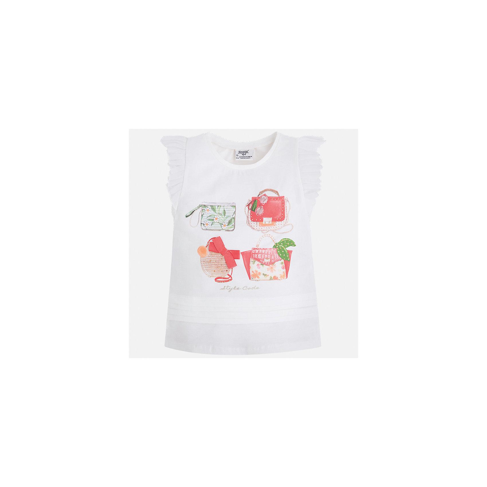 Футболка для девочки MayoralХарактеристики товара:<br><br>• цвет: белый<br>• состав: 95% хлопок, 5% эластан<br>• эластичный материал<br>• декорирована принтом<br>• короткие рукава<br>• фактурные плечи<br>• округлый горловой вырез<br>• страна бренда: Испания<br><br>Модная качественная футболка для девочки поможет разнообразить гардероб ребенка и украсить наряд. Она отлично сочетается и с юбками, и с шортами, и с брюками. Универсальный цвет позволяет подобрать к вещи низ практически любой расцветки. Интересная отделка модели делает её нарядной и оригинальной. В составе материала есть натуральный хлопок, гипоаллергенный, приятный на ощупь, дышащий.<br><br>Одежда, обувь и аксессуары от испанского бренда Mayoral полюбились детям и взрослым по всему миру. Модели этой марки - стильные и удобные. Для их производства используются только безопасные, качественные материалы и фурнитура. Порадуйте ребенка модными и красивыми вещами от Mayoral! <br><br>Футболку для девочки от испанского бренда Mayoral (Майорал) можно купить в нашем интернет-магазине.<br><br>Ширина мм: 199<br>Глубина мм: 10<br>Высота мм: 161<br>Вес г: 151<br>Цвет: белый<br>Возраст от месяцев: 96<br>Возраст до месяцев: 108<br>Пол: Женский<br>Возраст: Детский<br>Размер: 134,92,98,104,110,116,122,128<br>SKU: 5300118
