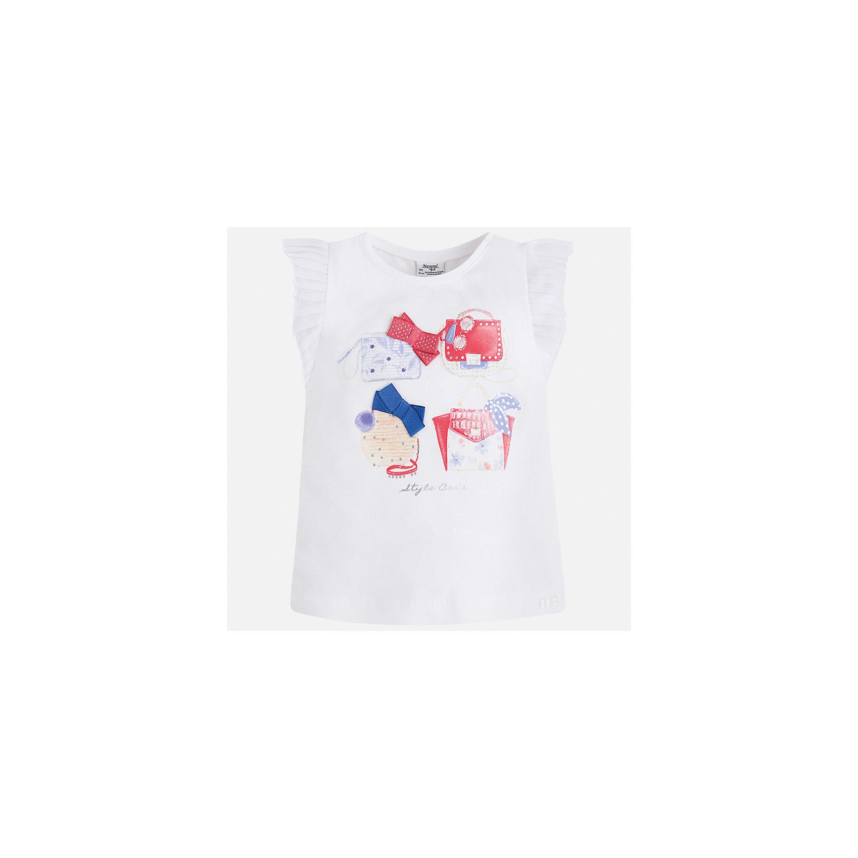 Футболка для девочки MayoralХарактеристики товара:<br><br>• цвет: белый<br>• состав: 95% хлопок, 5% эластан<br>• эластичный материал<br>• декорирована принтом<br>• короткие рукава<br>• фактурные плечи<br>• округлый горловой вырез<br>• страна бренда: Испания<br><br>Модная качественная футболка для девочки поможет разнообразить гардероб ребенка и украсить наряд. Она отлично сочетается и с юбками, и с шортами, и с брюками. Универсальный цвет позволяет подобрать к вещи низ практически любой расцветки. Интересная отделка модели делает её нарядной и оригинальной. В составе материала есть натуральный хлопок, гипоаллергенный, приятный на ощупь, дышащий.<br><br>Одежда, обувь и аксессуары от испанского бренда Mayoral полюбились детям и взрослым по всему миру. Модели этой марки - стильные и удобные. Для их производства используются только безопасные, качественные материалы и фурнитура. Порадуйте ребенка модными и красивыми вещами от Mayoral! <br><br>Футболку для девочки от испанского бренда Mayoral (Майорал) можно купить в нашем интернет-магазине.<br><br>Ширина мм: 199<br>Глубина мм: 10<br>Высота мм: 161<br>Вес г: 151<br>Цвет: белый<br>Возраст от месяцев: 96<br>Возраст до месяцев: 108<br>Пол: Женский<br>Возраст: Детский<br>Размер: 134,116,92,98,104,110,122,128<br>SKU: 5300136