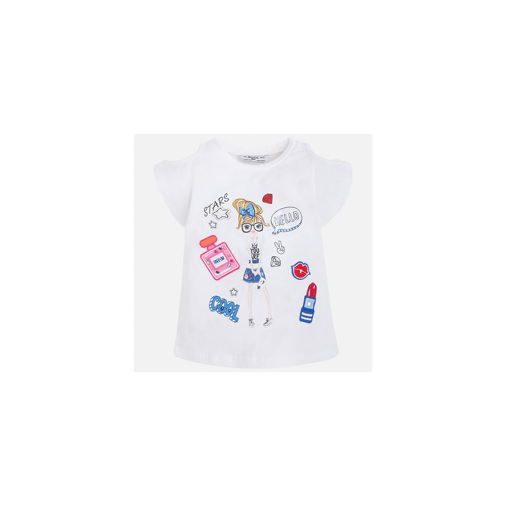 Футболка для девочки MayoralХарактеристики товара:<br><br>• цвет: белый<br>• состав: 95% хлопок, 5% эластан<br>• эластичный материал<br>• декорирована принтом<br>• короткие рукава<br>• фактурные плечи<br>• округлый горловой вырез<br>• страна бренда: Испания<br><br>Модная качественная футболка для девочки поможет разнообразить гардероб ребенка и украсить наряд. Она отлично сочетается и с юбками, и с шортами, и с брюками. Универсальный цвет позволяет подобрать к вещи низ практически любой расцветки. Интересная отделка модели делает её нарядной и оригинальной. В составе материала есть натуральный хлопок, гипоаллергенный, приятный на ощупь, дышащий.<br><br>Одежда, обувь и аксессуары от испанского бренда Mayoral полюбились детям и взрослым по всему миру. Модели этой марки - стильные и удобные. Для их производства используются только безопасные, качественные материалы и фурнитура. Порадуйте ребенка модными и красивыми вещами от Mayoral! <br><br>Футболку для девочки от испанского бренда Mayoral (Майорал) можно купить в нашем интернет-магазине.<br><br>Ширина мм: 199<br>Глубина мм: 10<br>Высота мм: 161<br>Вес г: 151<br>Цвет: белый<br>Возраст от месяцев: 96<br>Возраст до месяцев: 108<br>Пол: Женский<br>Возраст: Детский<br>Размер: 134,92,98,104,110,116,122,128<br>SKU: 5300226