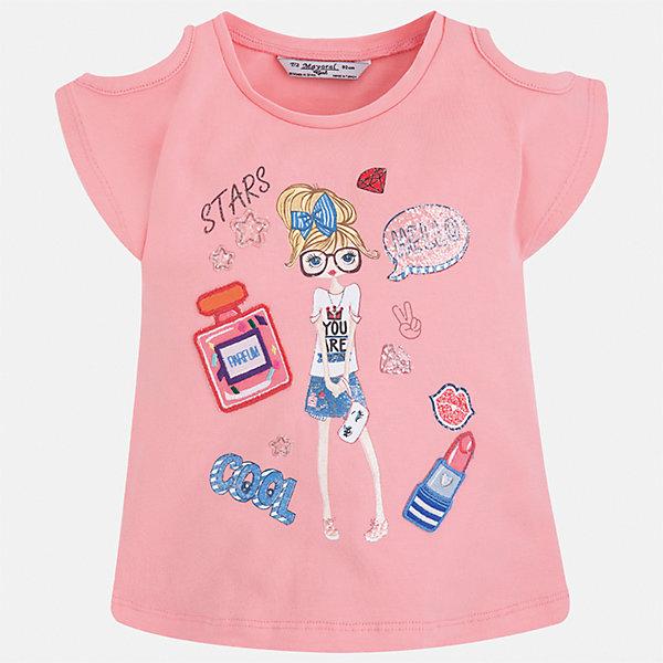 Футболка для девочки MayoralФутболки, поло и топы<br>Характеристики товара:<br><br>• цвет: розовый<br>• состав: 95% хлопок, 5% эластан<br>• эластичный материал<br>• декорирована принтом<br>• короткие рукава<br>• фактурные плечи<br>• округлый горловой вырез<br>• страна бренда: Испания<br><br>Модная качественная футболка для девочки поможет разнообразить гардероб ребенка и украсить наряд. Она отлично сочетается и с юбками, и с шортами, и с брюками. Универсальный цвет позволяет подобрать к вещи низ практически любой расцветки. Интересная отделка модели делает её нарядной и оригинальной. В составе материала есть натуральный хлопок, гипоаллергенный, приятный на ощупь, дышащий.<br><br>Одежда, обувь и аксессуары от испанского бренда Mayoral полюбились детям и взрослым по всему миру. Модели этой марки - стильные и удобные. Для их производства используются только безопасные, качественные материалы и фурнитура. Порадуйте ребенка модными и красивыми вещами от Mayoral! <br><br>Футболку для девочки от испанского бренда Mayoral (Майорал) можно купить в нашем интернет-магазине.<br>Ширина мм: 199; Глубина мм: 10; Высота мм: 161; Вес г: 151; Цвет: розовый; Возраст от месяцев: 18; Возраст до месяцев: 24; Пол: Женский; Возраст: Детский; Размер: 92,134,98,104,110,116,122,128; SKU: 5300244;