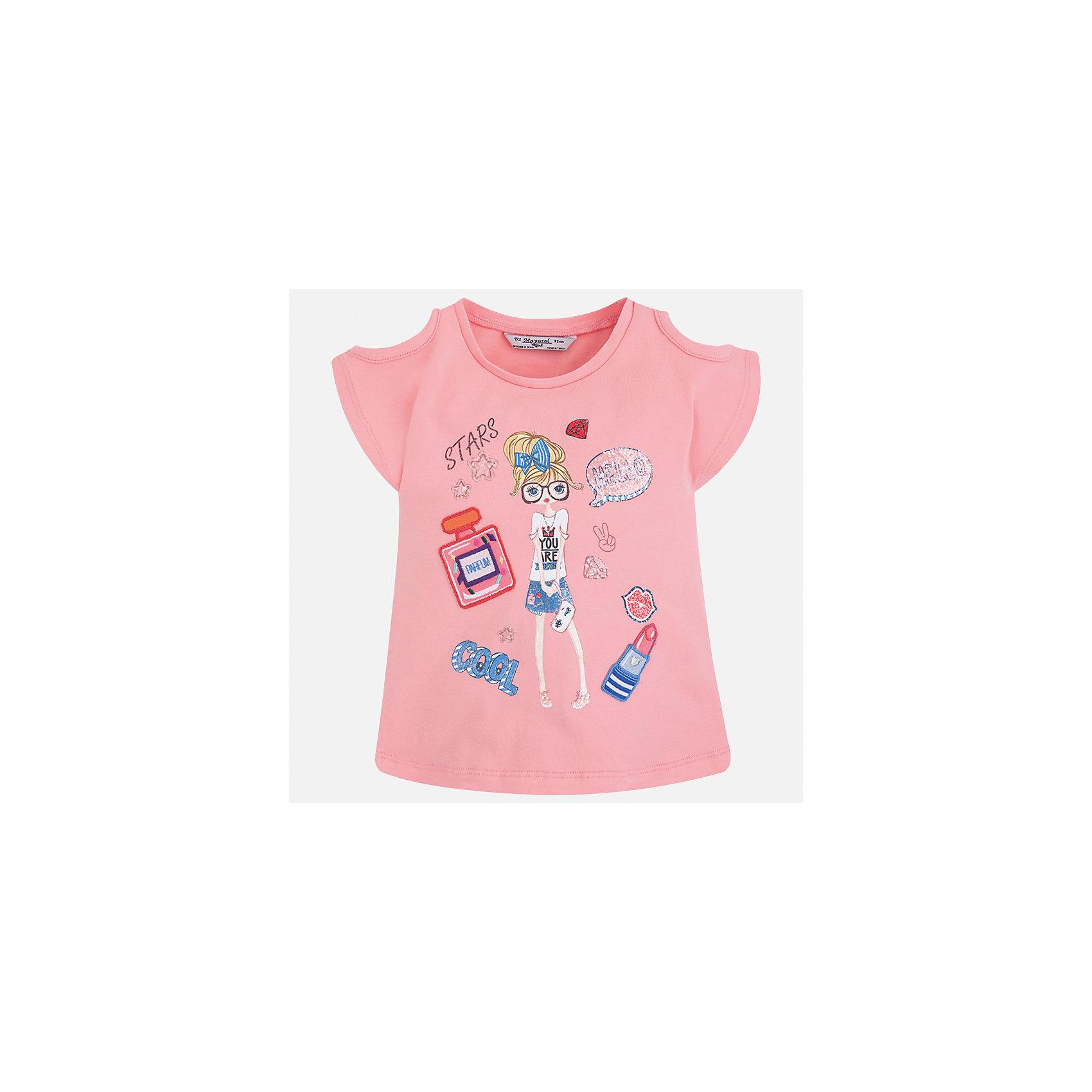 Футболка для девочки MayoralФутболки, поло и топы<br>Характеристики товара:<br><br>• цвет: розовый<br>• состав: 95% хлопок, 5% эластан<br>• эластичный материал<br>• декорирована принтом<br>• короткие рукава<br>• фактурные плечи<br>• округлый горловой вырез<br>• страна бренда: Испания<br><br>Модная качественная футболка для девочки поможет разнообразить гардероб ребенка и украсить наряд. Она отлично сочетается и с юбками, и с шортами, и с брюками. Универсальный цвет позволяет подобрать к вещи низ практически любой расцветки. Интересная отделка модели делает её нарядной и оригинальной. В составе материала есть натуральный хлопок, гипоаллергенный, приятный на ощупь, дышащий.<br><br>Одежда, обувь и аксессуары от испанского бренда Mayoral полюбились детям и взрослым по всему миру. Модели этой марки - стильные и удобные. Для их производства используются только безопасные, качественные материалы и фурнитура. Порадуйте ребенка модными и красивыми вещами от Mayoral! <br><br>Футболку для девочки от испанского бренда Mayoral (Майорал) можно купить в нашем интернет-магазине.<br><br>Ширина мм: 199<br>Глубина мм: 10<br>Высота мм: 161<br>Вес г: 151<br>Цвет: розовый<br>Возраст от месяцев: 18<br>Возраст до месяцев: 24<br>Пол: Женский<br>Возраст: Детский<br>Размер: 92,134,98,104,110,116,122,128<br>SKU: 5300244