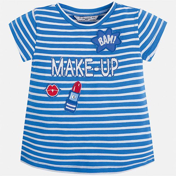 Футболка для девочки MayoralФутболки, поло и топы<br>Характеристики товара:<br><br>• цвет: синий<br>• состав: 95% хлопок, 5% эластан<br>• эластичный материал<br>• декорирована принтом<br>• короткие рукава<br>• в полоску<br>• округлый горловой вырез<br>• страна бренда: Испания<br><br>Модная качественная футболка для девочки поможет разнообразить гардероб ребенка и украсить наряд. Она отлично сочетается и с юбками, и с шортами, и с брюками. Универсальный цвет позволяет подобрать к вещи низ практически любой расцветки. Интересная отделка модели делает её нарядной и оригинальной. В составе материала есть натуральный хлопок, гипоаллергенный, приятный на ощупь, дышащий.<br><br>Одежда, обувь и аксессуары от испанского бренда Mayoral полюбились детям и взрослым по всему миру. Модели этой марки - стильные и удобные. Для их производства используются только безопасные, качественные материалы и фурнитура. Порадуйте ребенка модными и красивыми вещами от Mayoral! <br><br>Футболку для девочки от испанского бренда Mayoral (Майорал) можно купить в нашем интернет-магазине.<br>Ширина мм: 199; Глубина мм: 10; Высота мм: 161; Вес г: 151; Цвет: синий; Возраст от месяцев: 84; Возраст до месяцев: 96; Пол: Женский; Возраст: Детский; Размер: 128,134,122,116,110,104,98,92; SKU: 5300253;