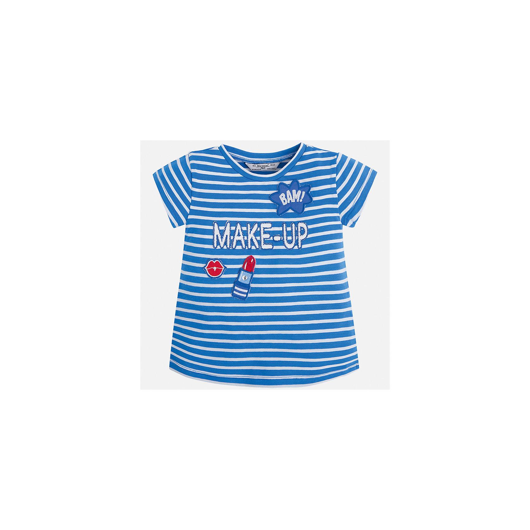 Футболка для девочки MayoralФутболки, поло и топы<br>Характеристики товара:<br><br>• цвет: синий<br>• состав: 95% хлопок, 5% эластан<br>• эластичный материал<br>• декорирована принтом<br>• короткие рукава<br>• в полоску<br>• округлый горловой вырез<br>• страна бренда: Испания<br><br>Модная качественная футболка для девочки поможет разнообразить гардероб ребенка и украсить наряд. Она отлично сочетается и с юбками, и с шортами, и с брюками. Универсальный цвет позволяет подобрать к вещи низ практически любой расцветки. Интересная отделка модели делает её нарядной и оригинальной. В составе материала есть натуральный хлопок, гипоаллергенный, приятный на ощупь, дышащий.<br><br>Одежда, обувь и аксессуары от испанского бренда Mayoral полюбились детям и взрослым по всему миру. Модели этой марки - стильные и удобные. Для их производства используются только безопасные, качественные материалы и фурнитура. Порадуйте ребенка модными и красивыми вещами от Mayoral! <br><br>Футболку для девочки от испанского бренда Mayoral (Майорал) можно купить в нашем интернет-магазине.<br><br>Ширина мм: 199<br>Глубина мм: 10<br>Высота мм: 161<br>Вес г: 151<br>Цвет: синий<br>Возраст от месяцев: 96<br>Возраст до месяцев: 108<br>Пол: Женский<br>Возраст: Детский<br>Размер: 134,92,98,104,110,116,122,128<br>SKU: 5300253