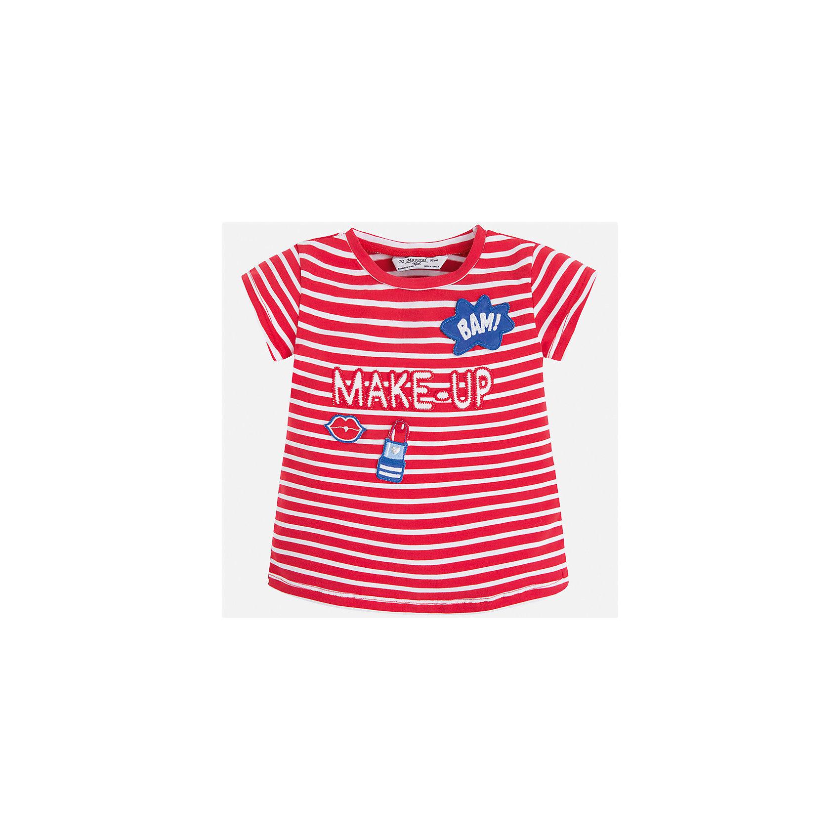 Футболка для девочки MayoralХарактеристики товара:<br><br>• цвет: красный<br>• состав: 95% хлопок, 5% эластан<br>• эластичный материал<br>• декорирована принтом<br>• короткие рукава<br>• в полоску<br>• округлый горловой вырез<br>• страна бренда: Испания<br><br>Модная качественная футболка для девочки поможет разнообразить гардероб ребенка и украсить наряд. Она отлично сочетается и с юбками, и с шортами, и с брюками. Универсальный цвет позволяет подобрать к вещи низ практически любой расцветки. Интересная отделка модели делает её нарядной и оригинальной. В составе материала есть натуральный хлопок, гипоаллергенный, приятный на ощупь, дышащий.<br><br>Одежда, обувь и аксессуары от испанского бренда Mayoral полюбились детям и взрослым по всему миру. Модели этой марки - стильные и удобные. Для их производства используются только безопасные, качественные материалы и фурнитура. Порадуйте ребенка модными и красивыми вещами от Mayoral! <br><br>Футболку для девочки от испанского бренда Mayoral (Майорал) можно купить в нашем интернет-магазине.<br><br>Ширина мм: 199<br>Глубина мм: 10<br>Высота мм: 161<br>Вес г: 151<br>Цвет: красный<br>Возраст от месяцев: 96<br>Возраст до месяцев: 108<br>Пол: Женский<br>Возраст: Детский<br>Размер: 134,92,98,104,110,116,122,128<br>SKU: 5300262