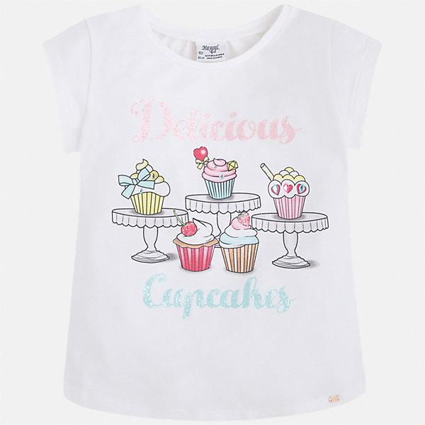 Футболка для девочки MayoralФутболки, поло и топы<br>Характеристики товара:<br><br>• цвет: белый<br>• состав: 95% хлопок, 5% эластан<br>• эластичный материал<br>• декорирована принтом<br>• короткие рукава<br>• округлый горловой вырез<br>• страна бренда: Испания<br><br>Модная качественная футболка для девочки поможет разнообразить гардероб ребенка и украсить наряд. Она отлично сочетается и с юбками, и с шортами, и с брюками. Универсальный цвет позволяет подобрать к вещи низ практически любой расцветки. Интересная отделка модели делает её нарядной и оригинальной. В составе материала есть натуральный хлопок, гипоаллергенный, приятный на ощупь, дышащий.<br><br>Одежда, обувь и аксессуары от испанского бренда Mayoral полюбились детям и взрослым по всему миру. Модели этой марки - стильные и удобные. Для их производства используются только безопасные, качественные материалы и фурнитура. Порадуйте ребенка модными и красивыми вещами от Mayoral! <br><br>Футболку для девочки от испанского бренда Mayoral (Майорал) можно купить в нашем интернет-магазине.<br><br>Ширина мм: 199<br>Глубина мм: 10<br>Высота мм: 161<br>Вес г: 151<br>Цвет: белый<br>Возраст от месяцев: 84<br>Возраст до месяцев: 96<br>Пол: Женский<br>Возраст: Детский<br>Размер: 128,134,122,116,110,104,98,92<br>SKU: 5300291