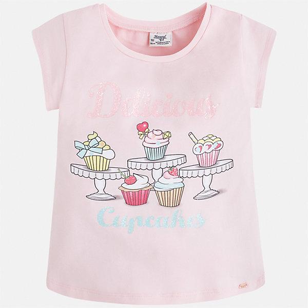 Футболка для девочки MayoralФутболки, поло и топы<br>Характеристики товара:<br><br>• цвет: розовый<br>• состав: 95% хлопок, 5% эластан<br>• эластичный материал<br>• декорирована принтом<br>• короткие рукава<br>• округлый горловой вырез<br>• страна бренда: Испания<br><br>Модная качественная футболка для девочки поможет разнообразить гардероб ребенка и украсить наряд. Она отлично сочетается и с юбками, и с шортами, и с брюками. Универсальный цвет позволяет подобрать к вещи низ практически любой расцветки. Интересная отделка модели делает её нарядной и оригинальной. В составе материала есть натуральный хлопок, гипоаллергенный, приятный на ощупь, дышащий.<br><br>Одежда, обувь и аксессуары от испанского бренда Mayoral полюбились детям и взрослым по всему миру. Модели этой марки - стильные и удобные. Для их производства используются только безопасные, качественные материалы и фурнитура. Порадуйте ребенка модными и красивыми вещами от Mayoral! <br><br>Футболку для девочки от испанского бренда Mayoral (Майорал) можно купить в нашем интернет-магазине.<br><br>Ширина мм: 199<br>Глубина мм: 10<br>Высота мм: 161<br>Вес г: 151<br>Цвет: розовый<br>Возраст от месяцев: 72<br>Возраст до месяцев: 84<br>Пол: Женский<br>Возраст: Детский<br>Размер: 122,134,92,98,104,110,116,128<br>SKU: 5300300