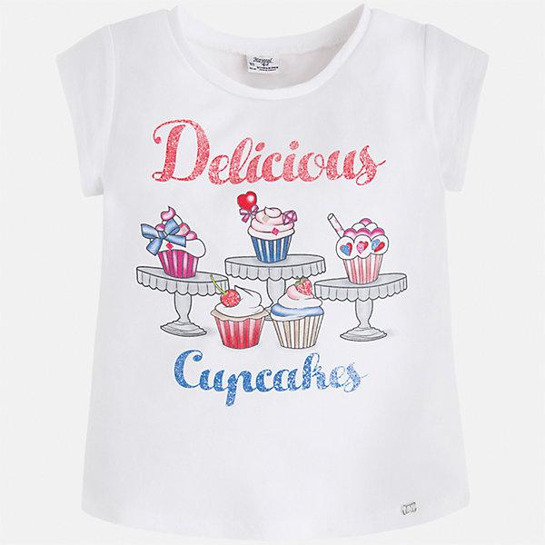 Футболка для девочки MayoralФутболки, поло и топы<br>Характеристики товара:<br><br>• цвет: белый<br>• состав: 95% хлопок, 5% эластан<br>• эластичный материал<br>• декорирована принтом<br>• короткие рукава<br>• округлый горловой вырез<br>• страна бренда: Испания<br><br>Модная качественная футболка для девочки поможет разнообразить гардероб ребенка и украсить наряд. Она отлично сочетается и с юбками, и с шортами, и с брюками. Универсальный цвет позволяет подобрать к вещи низ практически любой расцветки. Интересная отделка модели делает её нарядной и оригинальной. В составе материала есть натуральный хлопок, гипоаллергенный, приятный на ощупь, дышащий.<br><br>Одежда, обувь и аксессуары от испанского бренда Mayoral полюбились детям и взрослым по всему миру. Модели этой марки - стильные и удобные. Для их производства используются только безопасные, качественные материалы и фурнитура. Порадуйте ребенка модными и красивыми вещами от Mayoral! <br><br>Футболку для девочки от испанского бренда Mayoral (Майорал) можно купить в нашем интернет-магазине.<br>Ширина мм: 199; Глубина мм: 10; Высота мм: 161; Вес г: 151; Цвет: белый; Возраст от месяцев: 18; Возраст до месяцев: 24; Пол: Женский; Возраст: Детский; Размер: 92,134,128,122,116,110,104,98; SKU: 5300309;