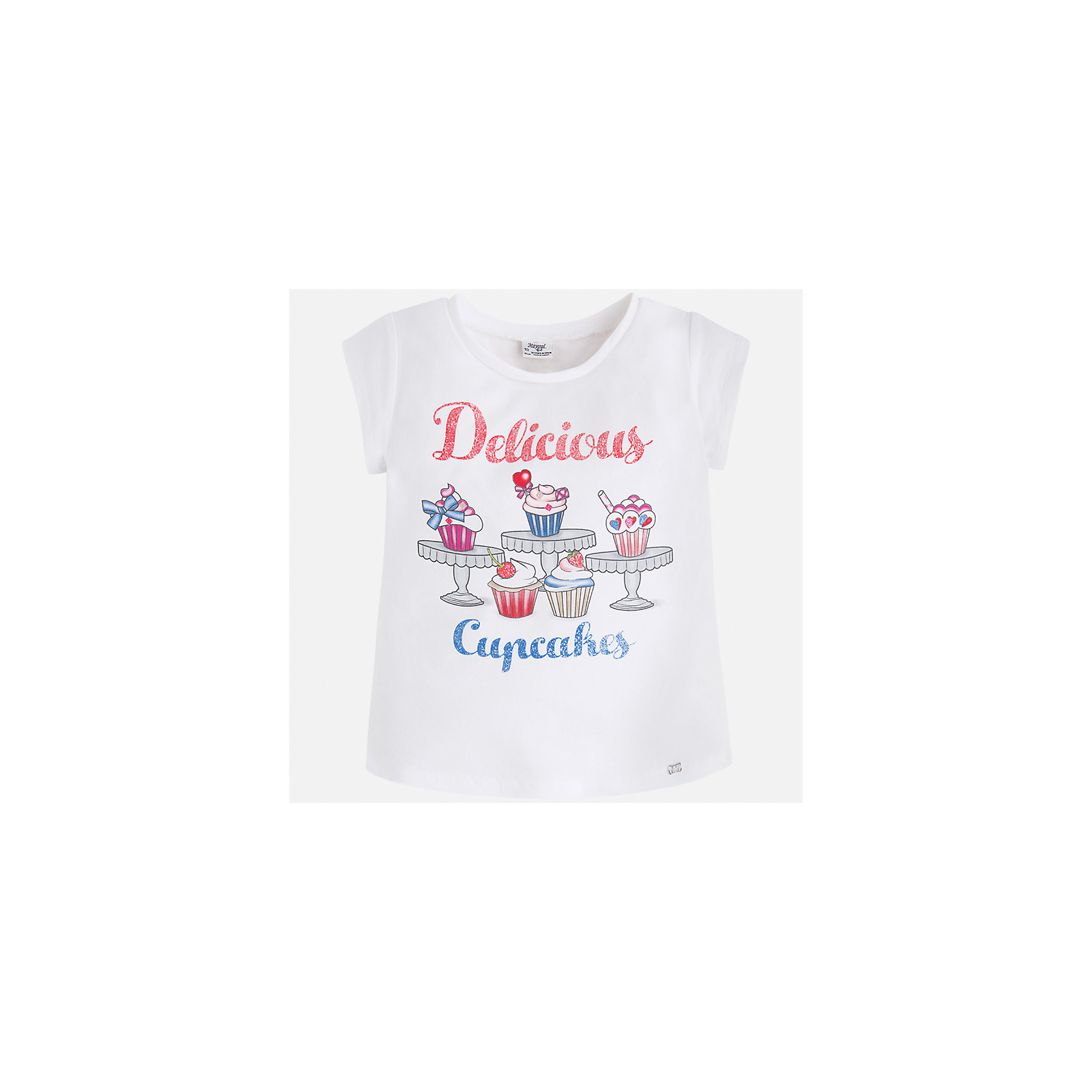 Футболка для девочки MayoralФутболки, поло и топы<br>Характеристики товара:<br><br>• цвет: белый<br>• состав: 95% хлопок, 5% эластан<br>• эластичный материал<br>• декорирована принтом<br>• короткие рукава<br>• округлый горловой вырез<br>• страна бренда: Испания<br><br>Модная качественная футболка для девочки поможет разнообразить гардероб ребенка и украсить наряд. Она отлично сочетается и с юбками, и с шортами, и с брюками. Универсальный цвет позволяет подобрать к вещи низ практически любой расцветки. Интересная отделка модели делает её нарядной и оригинальной. В составе материала есть натуральный хлопок, гипоаллергенный, приятный на ощупь, дышащий.<br><br>Одежда, обувь и аксессуары от испанского бренда Mayoral полюбились детям и взрослым по всему миру. Модели этой марки - стильные и удобные. Для их производства используются только безопасные, качественные материалы и фурнитура. Порадуйте ребенка модными и красивыми вещами от Mayoral! <br><br>Футболку для девочки от испанского бренда Mayoral (Майорал) можно купить в нашем интернет-магазине.<br><br>Ширина мм: 199<br>Глубина мм: 10<br>Высота мм: 161<br>Вес г: 151<br>Цвет: белый<br>Возраст от месяцев: 96<br>Возраст до месяцев: 108<br>Пол: Женский<br>Возраст: Детский<br>Размер: 134,128,122,116,110,104,98,92<br>SKU: 5300309