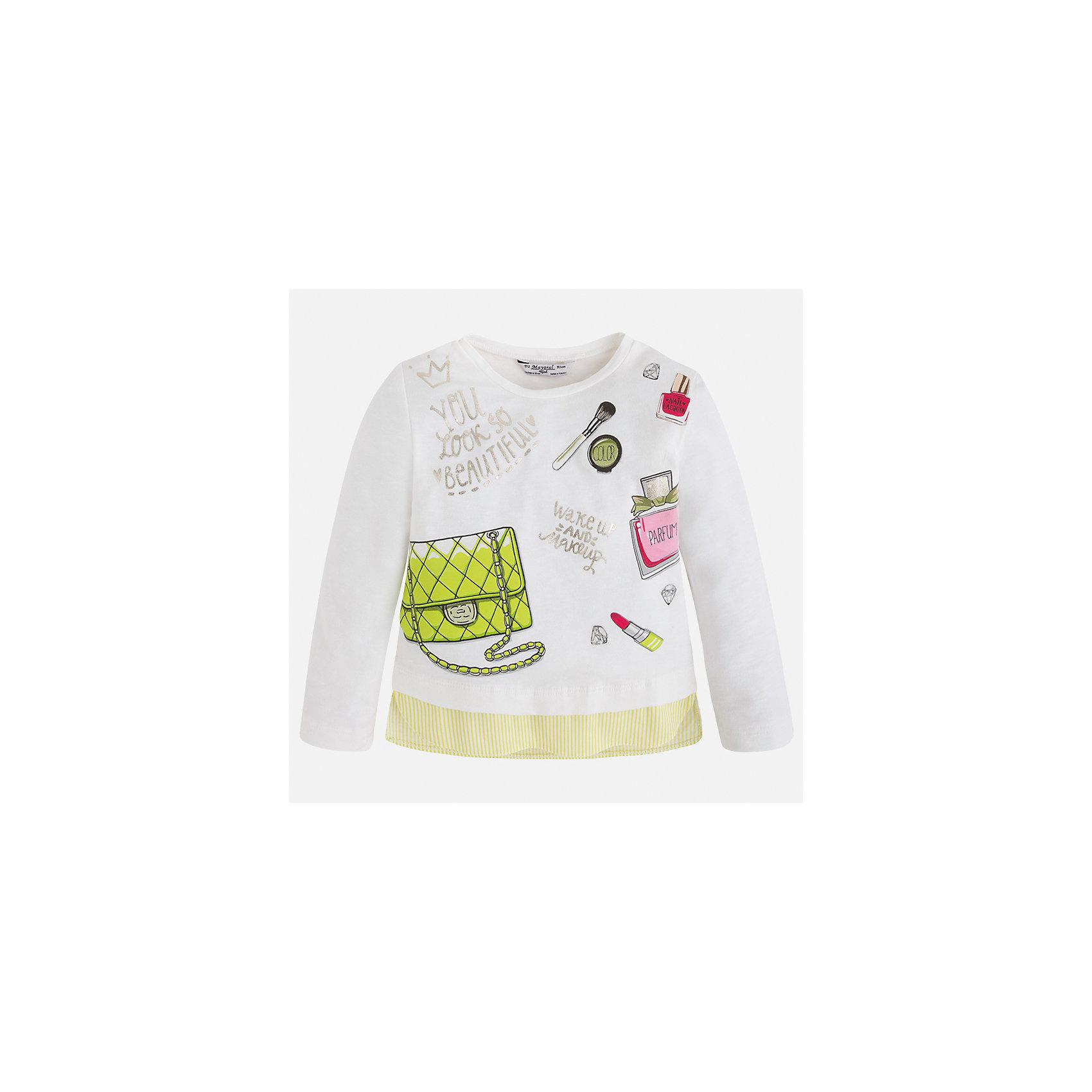 Футболка с длинным рукавом для девочки MayoralХарактеристики товара:<br><br>• цвет: белый<br>• состав: 48% вискоза, 47% хлопок, 5% эластан<br>• плотный материал<br>• декорирована принтом<br>• длинные рукава<br>• округлый горловой вырез<br>• страна бренда: Испания<br><br>Модная качественная футболка для девочки поможет разнообразить гардероб ребенка и украсить наряд. Она отлично сочетается и с юбками, и с брюками. Универсальный цвет позволяет подобрать к вещи низ практически любой расцветки. Интересная отделка модели делает её нарядной и оригинальной. В составе материала - натуральный хлопок, гипоаллергенный, приятный на ощупь, дышащий.<br><br>Одежда, обувь и аксессуары от испанского бренда Mayoral полюбились детям и взрослым по всему миру. Модели этой марки - стильные и удобные. Для их производства используются только безопасные, качественные материалы и фурнитура. Порадуйте ребенка модными и красивыми вещами от Mayoral! <br><br>Футболку с длинным рукавом для девочки от испанского бренда Mayoral (Майорал) можно купить в нашем интернет-магазине.<br><br>Ширина мм: 230<br>Глубина мм: 40<br>Высота мм: 220<br>Вес г: 250<br>Цвет: зеленый<br>Возраст от месяцев: 60<br>Возраст до месяцев: 72<br>Пол: Женский<br>Возраст: Детский<br>Размер: 116,122,128,134,92,98,104,110<br>SKU: 5300345