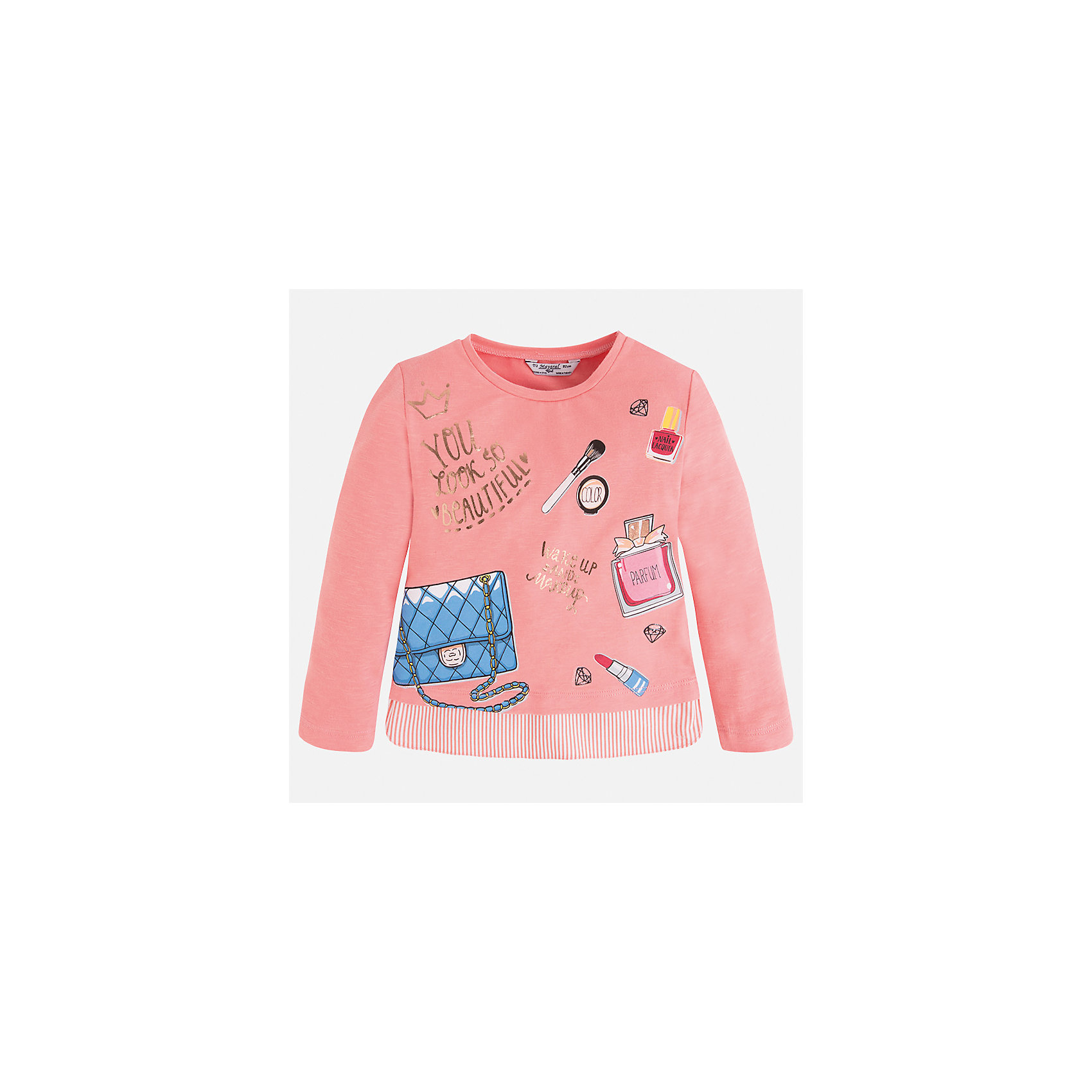 Футболка с длинным рукавом для девочки MayoralХарактеристики товара:<br><br>• цвет: персиковый<br>• состав: 48% вискоза, 47% хлопок, 5% эластан<br>• плотный материал<br>• декорирована принтом<br>• длинные рукава<br>• округлый горловой вырез<br>• страна бренда: Испания<br><br>Модная качественная футболка для девочки поможет разнообразить гардероб ребенка и украсить наряд. Она отлично сочетается и с юбками, и с брюками. Универсальный цвет позволяет подобрать к вещи низ практически любой расцветки. Интересная отделка модели делает её нарядной и оригинальной. В составе материала - натуральный хлопок, гипоаллергенный, приятный на ощупь, дышащий.<br><br>Одежда, обувь и аксессуары от испанского бренда Mayoral полюбились детям и взрослым по всему миру. Модели этой марки - стильные и удобные. Для их производства используются только безопасные, качественные материалы и фурнитура. Порадуйте ребенка модными и красивыми вещами от Mayoral! <br><br>Футболку с длинным рукавом для девочки от испанского бренда Mayoral (Майорал) можно купить в нашем интернет-магазине.<br><br>Ширина мм: 230<br>Глубина мм: 40<br>Высота мм: 220<br>Вес г: 250<br>Цвет: розовый<br>Возраст от месяцев: 96<br>Возраст до месяцев: 108<br>Пол: Женский<br>Возраст: Детский<br>Размер: 134,92,98,104,110,116,122,128<br>SKU: 5300354