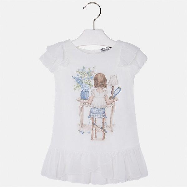 Блузка для девочки MayoralБлузки и рубашки<br>Характеристики товара:<br><br>• цвет: белый<br>• состав: 100% полиэстер, подкладка - 100% хлопок<br>• эластичный материал<br>• декорирована принтом<br>• короткие рукава<br>• фактурные плечи и низ<br>• округлый горловой вырез<br>• страна бренда: Испания<br><br>Симпатичная качественная блузка для девочки поможет разнообразить гардероб ребенка и украсить наряд. Она отлично сочетается и с юбками, и с шортами, и с брюками. Универсальный цвет позволяет подобрать к вещи низ практически любой расцветки. Интересная отделка модели делает её нарядной и оригинальной.<br><br>Одежда, обувь и аксессуары от испанского бренда Mayoral полюбились детям и взрослым по всему миру. Модели этой марки - стильные и удобные. Для их производства используются только безопасные, качественные материалы и фурнитура. Порадуйте ребенка модными и красивыми вещами от Mayoral! <br><br>Блузку для девочки от испанского бренда Mayoral (Майорал) можно купить в нашем интернет-магазине.<br><br>Ширина мм: 186<br>Глубина мм: 87<br>Высота мм: 198<br>Вес г: 197<br>Цвет: белый<br>Возраст от месяцев: 18<br>Возраст до месяцев: 24<br>Пол: Женский<br>Возраст: Детский<br>Размер: 92,134,128,122,116,110,104,98<br>SKU: 5300363