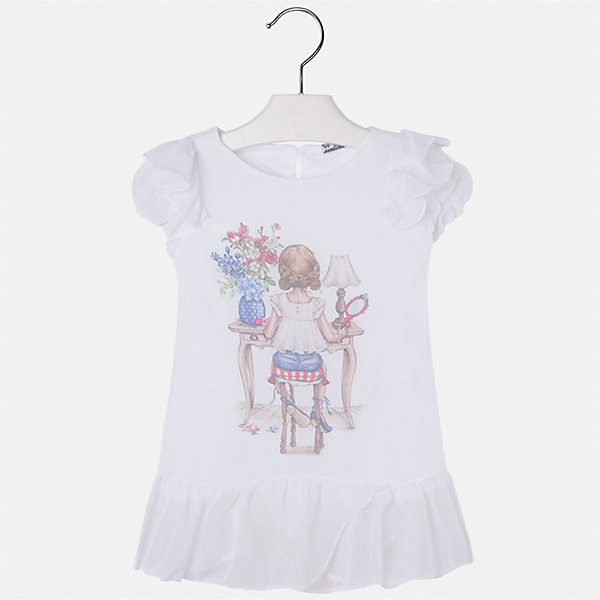 Блузка для девочки MayoralБлузки и рубашки<br>Характеристики товара:<br><br>• цвет: белый<br>• состав: 100% полиэстер, подкладка - 100% хлопок<br>• эластичный материал<br>• декорирована принтом<br>• короткие рукава<br>• фактурные плечи и низ<br>• округлый горловой вырез<br>• страна бренда: Испания<br><br>Симпатичная качественная блузка для девочки поможет разнообразить гардероб ребенка и украсить наряд. Она отлично сочетается и с юбками, и с шортами, и с брюками. Универсальный цвет позволяет подобрать к вещи низ практически любой расцветки. Интересная отделка модели делает её нарядной и оригинальной.<br><br>Одежда, обувь и аксессуары от испанского бренда Mayoral полюбились детям и взрослым по всему миру. Модели этой марки - стильные и удобные. Для их производства используются только безопасные, качественные материалы и фурнитура. Порадуйте ребенка модными и красивыми вещами от Mayoral! <br><br>Блузку для девочки от испанского бренда Mayoral (Майорал) можно купить в нашем интернет-магазине.<br>Ширина мм: 186; Глубина мм: 87; Высота мм: 198; Вес г: 197; Цвет: белый; Возраст от месяцев: 18; Возраст до месяцев: 24; Пол: Женский; Возраст: Детский; Размер: 92,134,128,122,116,110,104,98; SKU: 5300372;
