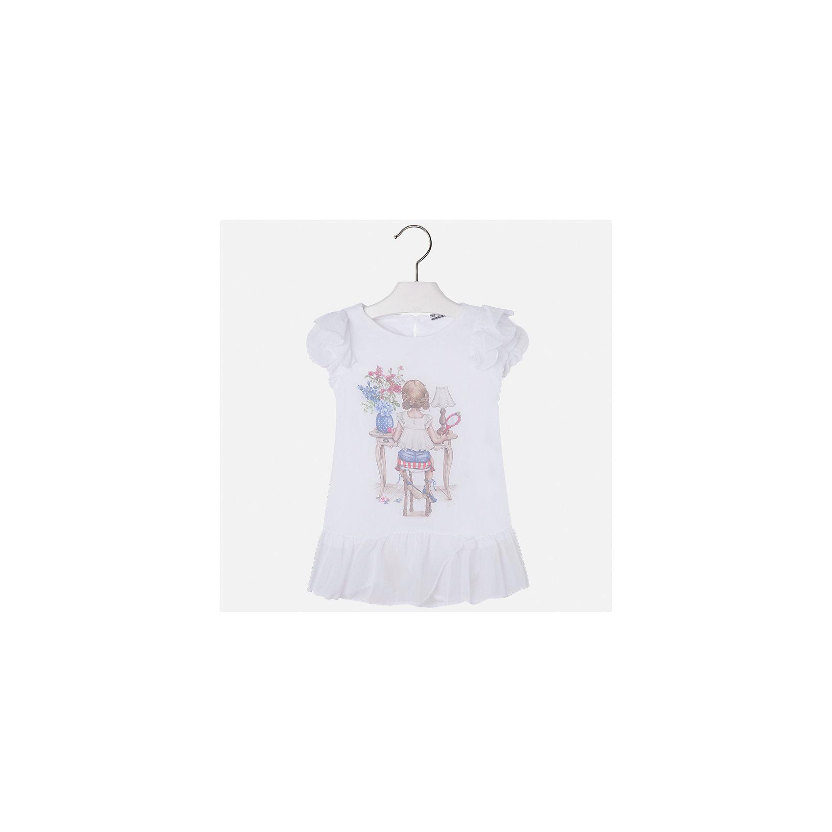 Блузка для девочки MayoralБлузки и рубашки<br>Характеристики товара:<br><br>• цвет: белый<br>• состав: 100% полиэстер, подкладка - 100% хлопок<br>• эластичный материал<br>• декорирована принтом<br>• короткие рукава<br>• фактурные плечи и низ<br>• округлый горловой вырез<br>• страна бренда: Испания<br><br>Симпатичная качественная блузка для девочки поможет разнообразить гардероб ребенка и украсить наряд. Она отлично сочетается и с юбками, и с шортами, и с брюками. Универсальный цвет позволяет подобрать к вещи низ практически любой расцветки. Интересная отделка модели делает её нарядной и оригинальной.<br><br>Одежда, обувь и аксессуары от испанского бренда Mayoral полюбились детям и взрослым по всему миру. Модели этой марки - стильные и удобные. Для их производства используются только безопасные, качественные материалы и фурнитура. Порадуйте ребенка модными и красивыми вещами от Mayoral! <br><br>Блузку для девочки от испанского бренда Mayoral (Майорал) можно купить в нашем интернет-магазине.<br><br>Ширина мм: 186<br>Глубина мм: 87<br>Высота мм: 198<br>Вес г: 197<br>Цвет: белый<br>Возраст от месяцев: 24<br>Возраст до месяцев: 36<br>Пол: Женский<br>Возраст: Детский<br>Размер: 98,104,110,116,122,128,134,92<br>SKU: 5300372