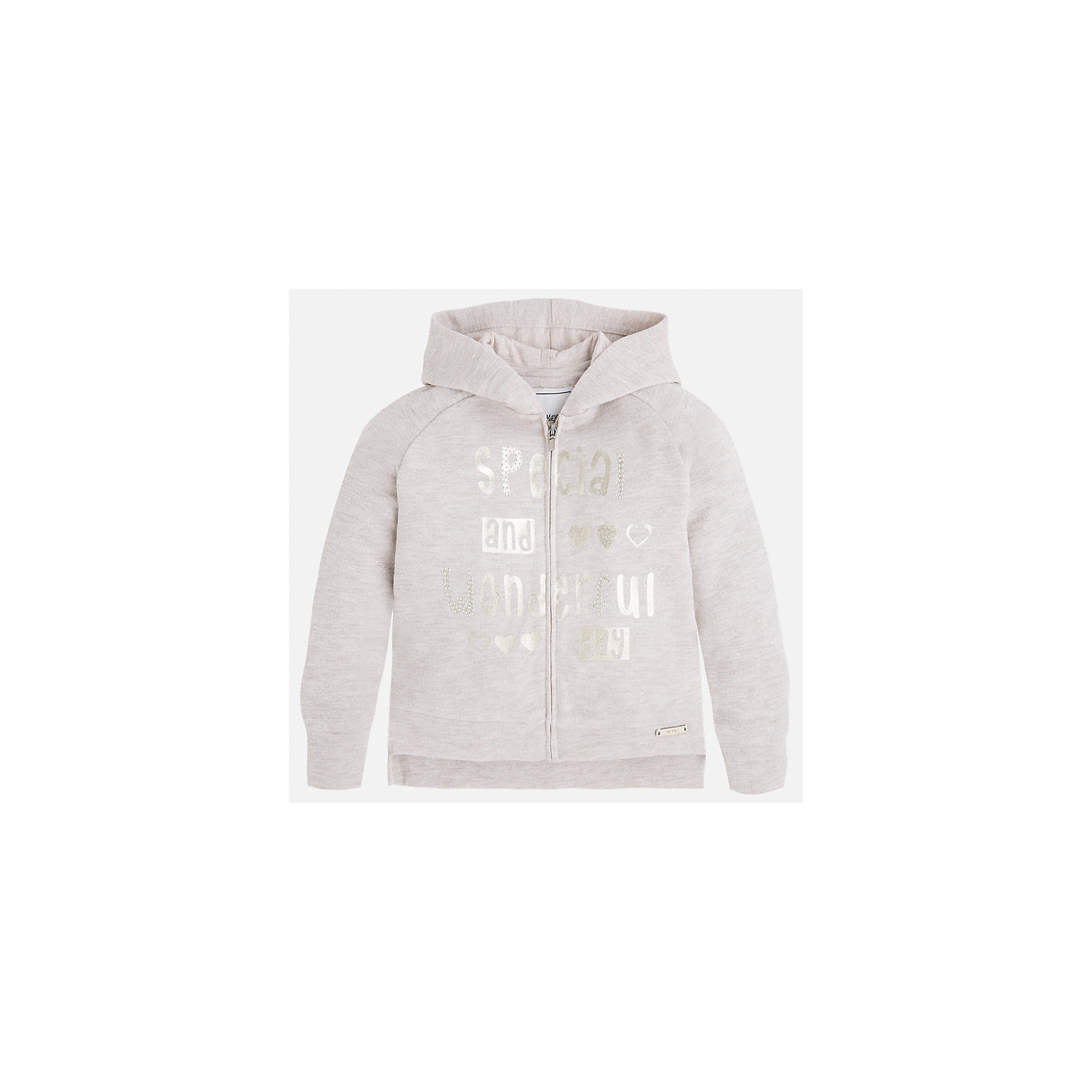 Куртка для девочки MayoralХарактеристики товара:<br><br>• цвет: серый<br>• состав: 62% хлопок, 28% полиэстер, 10% металлизированная нить<br>• молния<br>• капюшон<br>• манжеты<br>• длинные рукава<br>• украшена принтом<br>• страна бренда: Испания<br><br>Очень стильная куртка для девочки поможет разнообразить гардероб ребенка и украсить наряд. Он отлично сочетается и с юбками, и с брюками. Универсальный цвет позволяет подобрать к вещи низ различных расцветок. Интересная отделка модели делает её нарядной и оригинальной.<br><br>Одежда, обувь и аксессуары от испанского бренда Mayoral полюбились детям и взрослым по всему миру. Модели этой марки - стильные и удобные. Для их производства используются только безопасные, качественные материалы и фурнитура. Порадуйте ребенка модными и красивыми вещами от Mayoral! <br><br>Куртку для девочки от испанского бренда Mayoral (Майорал) можно купить в нашем интернет-магазине.<br><br>Ширина мм: 356<br>Глубина мм: 10<br>Высота мм: 245<br>Вес г: 519<br>Цвет: серый<br>Возраст от месяцев: 96<br>Возраст до месяцев: 108<br>Пол: Женский<br>Возраст: Детский<br>Размер: 134,92,98,104,110,116,122,128<br>SKU: 5300452