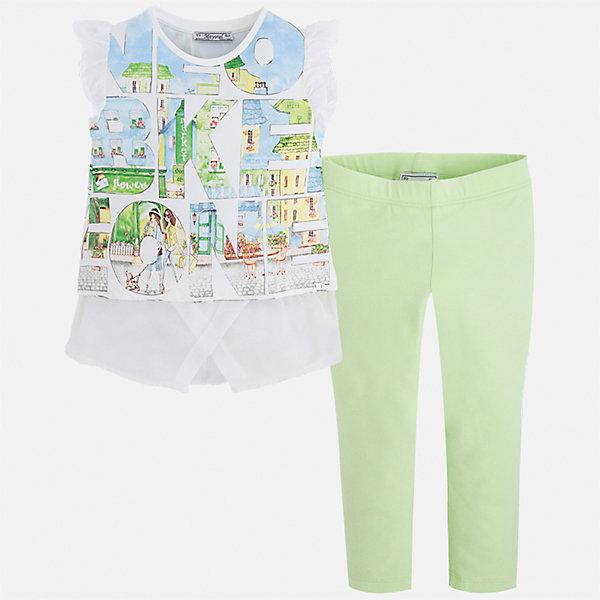 Купить Комплект: футболка с длинным рукавом и леггинсы для девочки Mayoral, Китай, зеленый, 92, 134, 128, 122, 116, 110, 104, 98, Женский