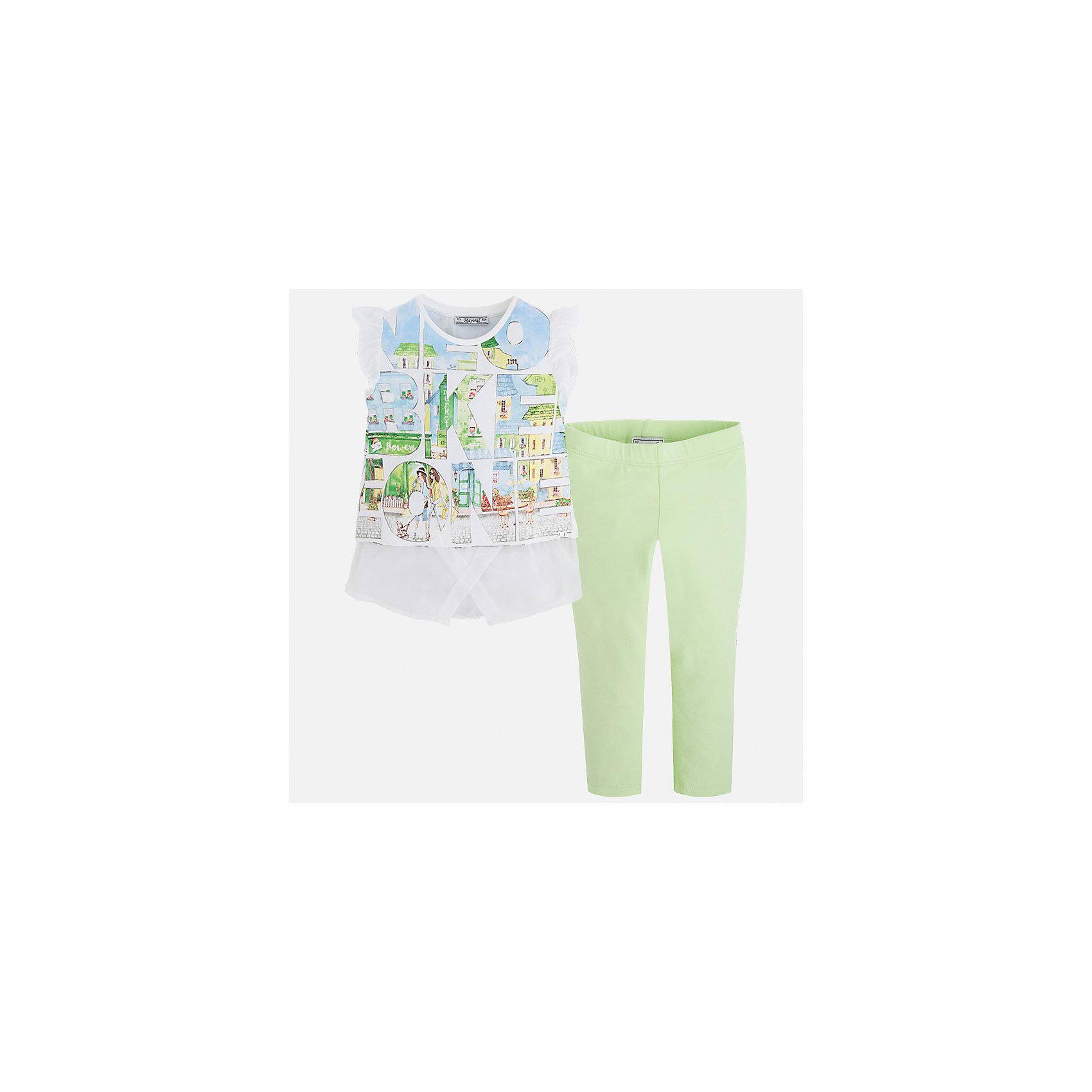 Комплект: футболка с длинным рукавом и леггинсы для девочки MayoralХарактеристики товара:<br><br>• цвет: белый/зеленый<br>• состав: 76% хлопок, 20% полиэстер, 4% эластан<br>• комплектация: футболка, леггинсы<br>• футболка декорирована принтом и оборками<br>• леггинсы однотонные<br>• пояс на резинке<br>• страна бренда: Испания<br><br>Красивый качественный комплект для девочки поможет разнообразить гардероб ребенка и удобно одеться в теплую погоду. Он отлично сочетается с другими предметами. Универсальный цвет позволяет подобрать к вещам верхнюю одежду практически любой расцветки. Интересная отделка модели делает её нарядной и оригинальной. В составе материала - натуральный хлопок, гипоаллергенный, приятный на ощупь, дышащий.<br><br>Одежда, обувь и аксессуары от испанского бренда Mayoral полюбились детям и взрослым по всему миру. Модели этой марки - стильные и удобные. Для их производства используются только безопасные, качественные материалы и фурнитура. Порадуйте ребенка модными и красивыми вещами от Mayoral! <br><br>Комплект для девочки от испанского бренда Mayoral (Майорал) можно купить в нашем интернет-магазине.<br><br>Ширина мм: 123<br>Глубина мм: 10<br>Высота мм: 149<br>Вес г: 209<br>Цвет: зеленый<br>Возраст от месяцев: 96<br>Возраст до месяцев: 108<br>Пол: Женский<br>Возраст: Детский<br>Размер: 134,92,98,104,110,116,122,128<br>SKU: 5300470