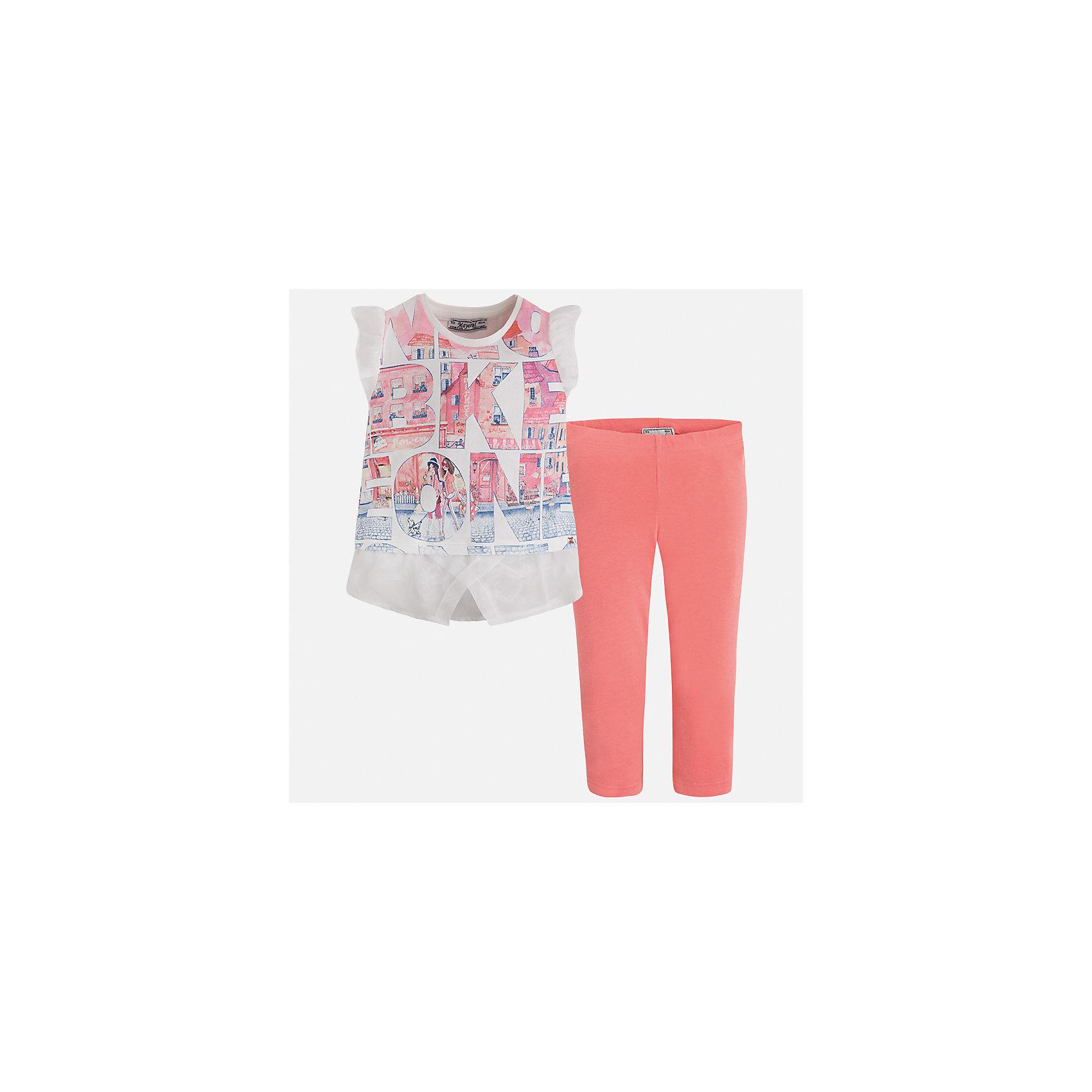 Комплект: футболка и леггинсы для девочки MayoralКомплекты<br>Характеристики товара:<br><br>• цвет: белый/оранжевый<br>• состав: 76% хлопок, 20% полиэстер, 4% эластан<br>• комплектация: футболка, леггинсы<br>• футболка декорирована принтом и оборками<br>• леггинсы однотонные<br>• пояс на резинке<br>• страна бренда: Испания<br><br>Красивый качественный комплект для девочки поможет разнообразить гардероб ребенка и удобно одеться в теплую погоду. Он отлично сочетается с другими предметами. Универсальный цвет позволяет подобрать к вещам верхнюю одежду практически любой расцветки. Интересная отделка модели делает её нарядной и оригинальной. В составе материала - натуральный хлопок, гипоаллергенный, приятный на ощупь, дышащий.<br><br>Одежда, обувь и аксессуары от испанского бренда Mayoral полюбились детям и взрослым по всему миру. Модели этой марки - стильные и удобные. Для их производства используются только безопасные, качественные материалы и фурнитура. Порадуйте ребенка модными и красивыми вещами от Mayoral! <br><br>Комплект для девочки от испанского бренда Mayoral (Майорал) можно купить в нашем интернет-магазине.<br><br>Ширина мм: 123<br>Глубина мм: 10<br>Высота мм: 149<br>Вес г: 209<br>Цвет: розовый<br>Возраст от месяцев: 24<br>Возраст до месяцев: 36<br>Пол: Женский<br>Возраст: Детский<br>Размер: 98,104,110,116,122,128,134,92<br>SKU: 5300479