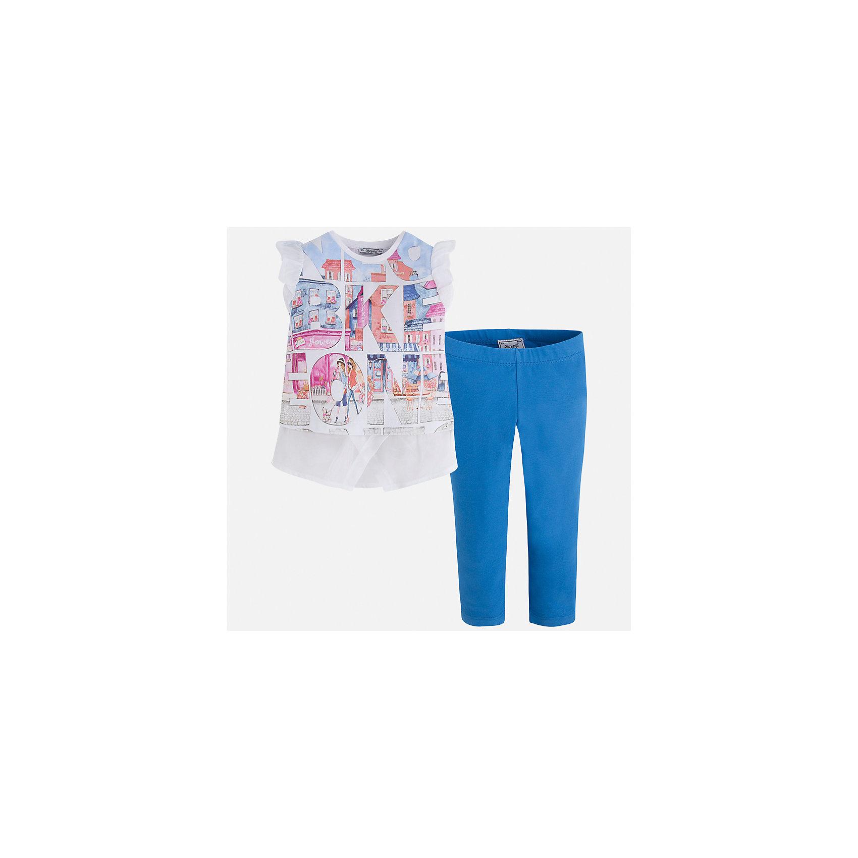 Комплект: футболка с длинным рукавом и леггинсы для девочки MayoralКомплекты<br>Характеристики товара:<br><br>• цвет: белый/голубой<br>• состав: 76% хлопок, 20% полиэстер, 4% эластан<br>• комплектация: футболка, леггинсы<br>• футболка декорирована принтом и оборками<br>• леггинсы однотонные<br>• пояс на резинке<br>• страна бренда: Испания<br><br>Красивый качественный комплект для девочки поможет разнообразить гардероб ребенка и удобно одеться в теплую погоду. Он отлично сочетается с другими предметами. Универсальный цвет позволяет подобрать к вещам верхнюю одежду практически любой расцветки. Интересная отделка модели делает её нарядной и оригинальной. В составе материала - натуральный хлопок, гипоаллергенный, приятный на ощупь, дышащий.<br><br>Одежда, обувь и аксессуары от испанского бренда Mayoral полюбились детям и взрослым по всему миру. Модели этой марки - стильные и удобные. Для их производства используются только безопасные, качественные материалы и фурнитура. Порадуйте ребенка модными и красивыми вещами от Mayoral! <br><br>Комплект для девочки от испанского бренда Mayoral (Майорал) можно купить в нашем интернет-магазине.<br><br>Ширина мм: 123<br>Глубина мм: 10<br>Высота мм: 149<br>Вес г: 209<br>Цвет: синий<br>Возраст от месяцев: 96<br>Возраст до месяцев: 108<br>Пол: Женский<br>Возраст: Детский<br>Размер: 134,92,98,104,110,116,122,128<br>SKU: 5300488
